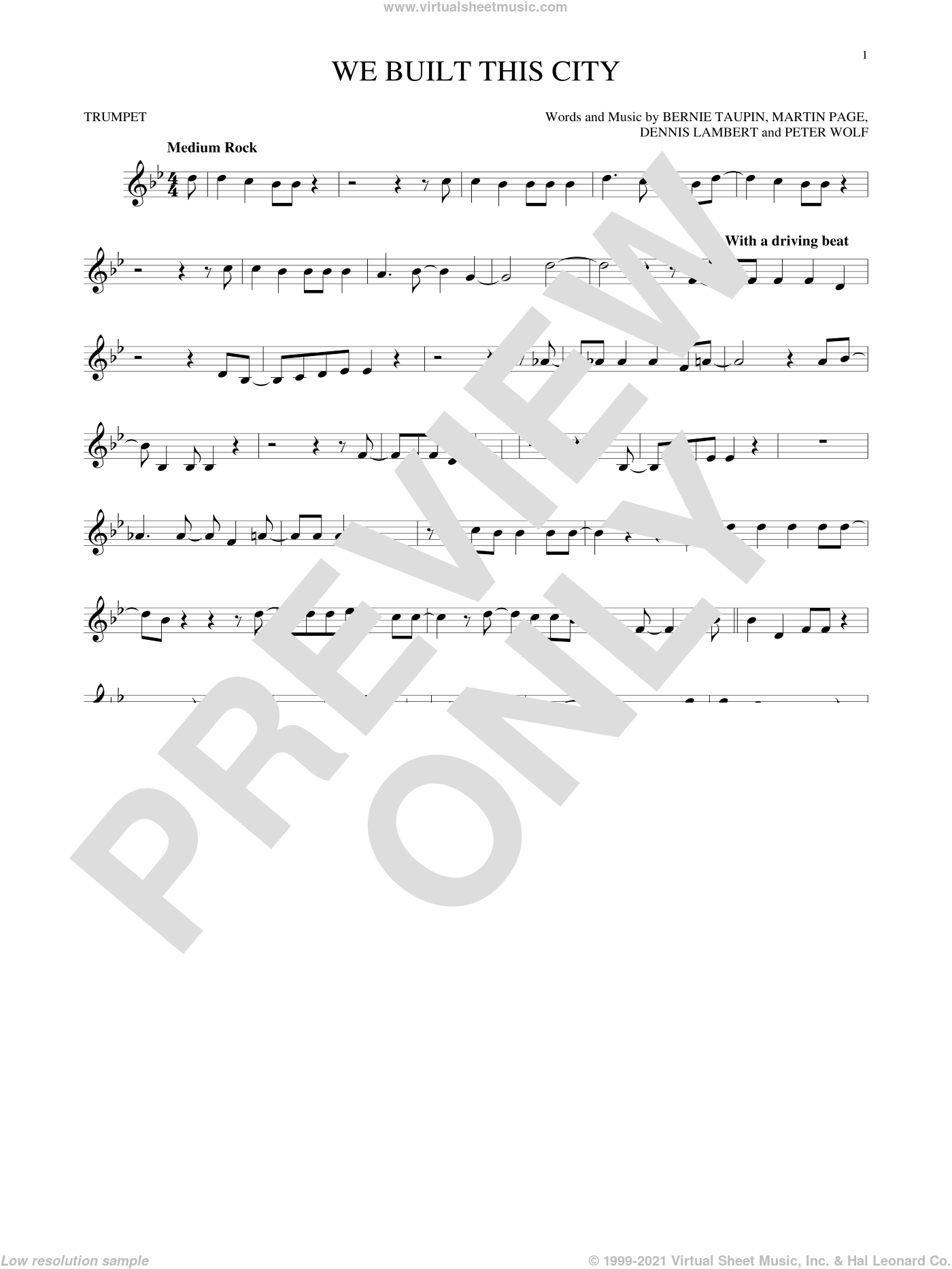 We Built This City sheet music for trumpet solo by Peter Wolf, Starship, Bernie Taupin, Dennis Lambert and Martin George Page. Score Image Preview.