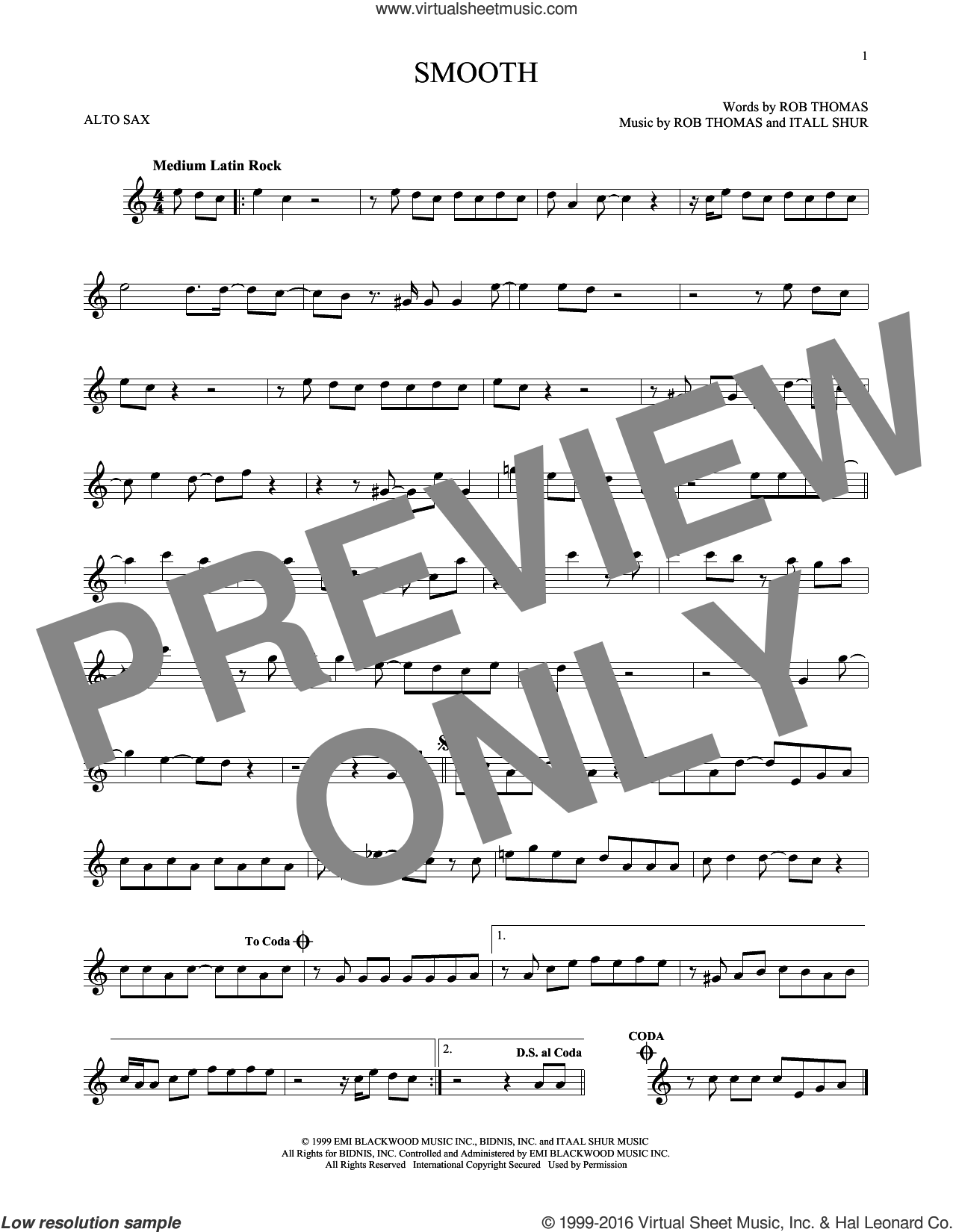 Smooth sheet music for alto saxophone solo by Rob Thomas, Santana featuring Rob Thomas and Itaal Shur. Score Image Preview.