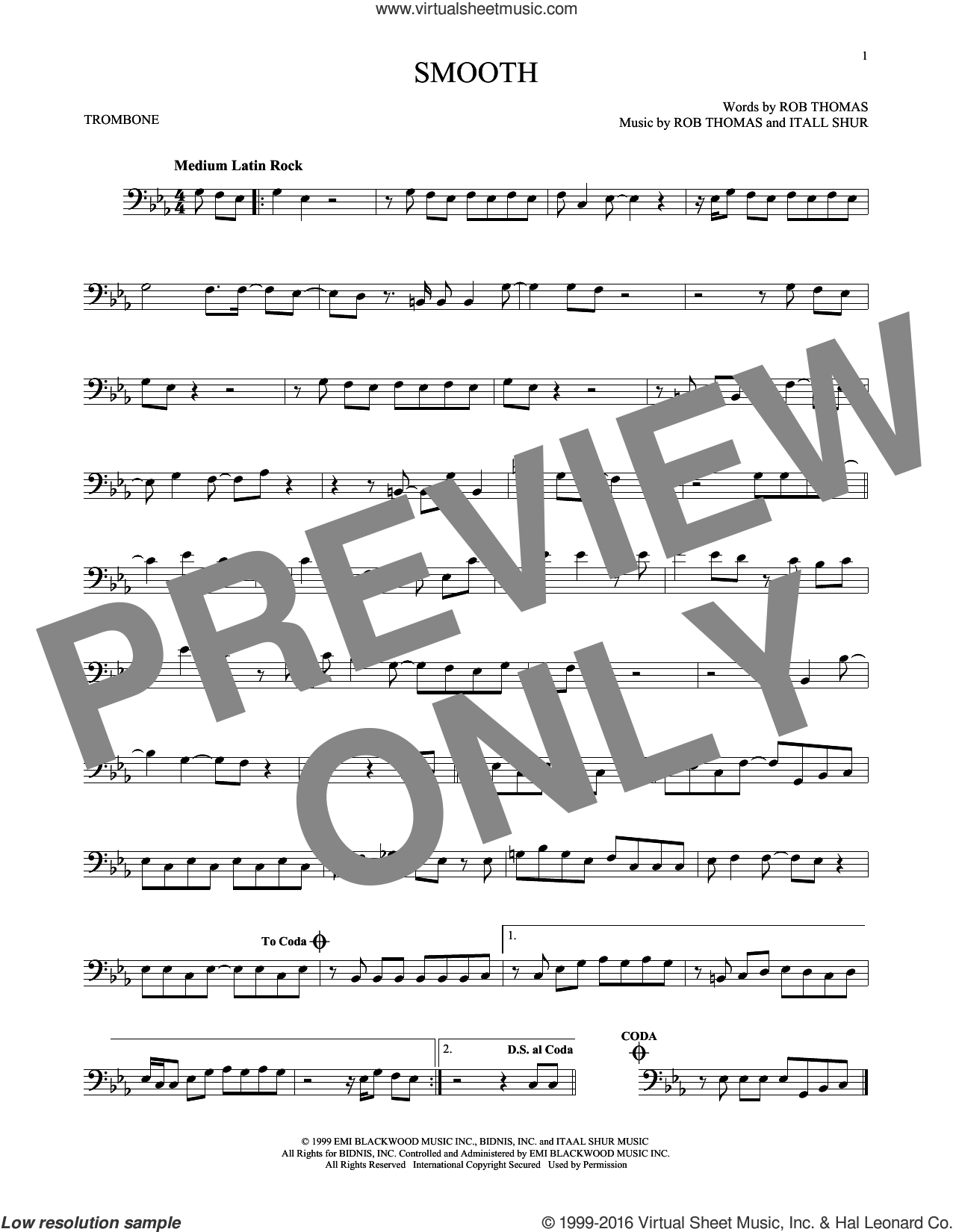 Smooth sheet music for trombone solo by Santana featuring Rob Thomas, Itaal Shur and Rob Thomas, intermediate skill level