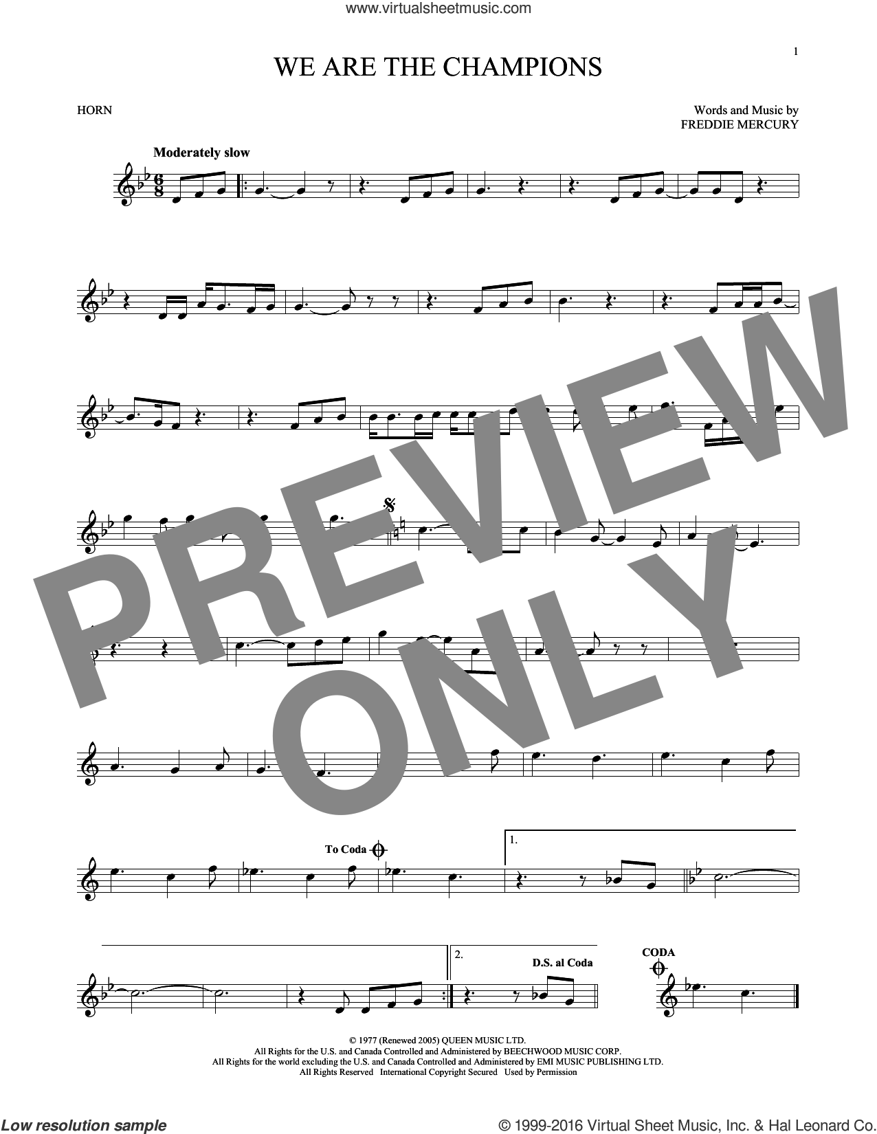 We Are The Champions sheet music for horn solo by Freddie Mercury and Queen. Score Image Preview.