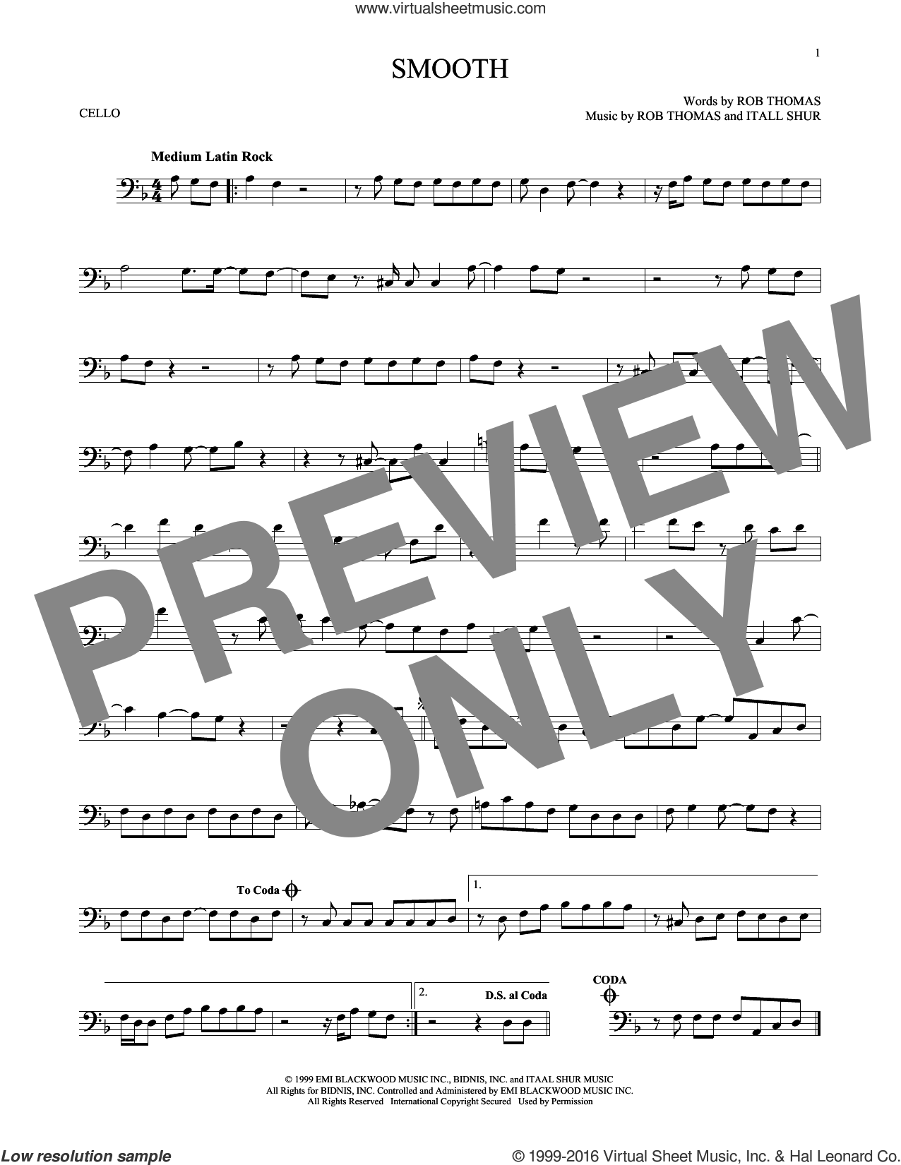 Smooth sheet music for cello solo by Santana featuring Rob Thomas, Itaal Shur and Rob Thomas, intermediate skill level