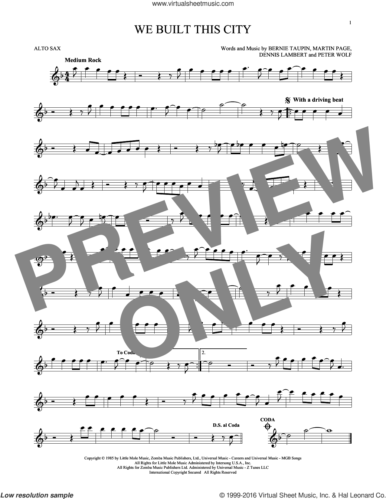 We Built This City sheet music for alto saxophone solo by Starship, Bernie Taupin, Dennis Lambert, Martin George Page and Peter Wolf, intermediate skill level