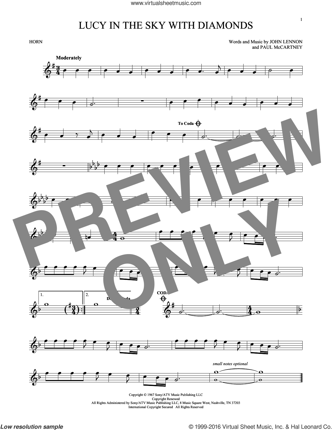 Lucy In The Sky With Diamonds sheet music for horn solo by The Beatles, Elton John, John Lennon and Paul McCartney, intermediate skill level