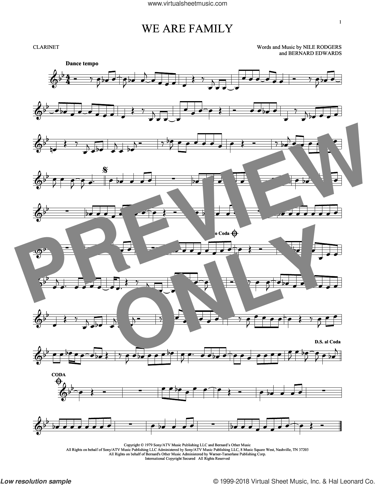 We Are Family sheet music for clarinet solo by Sister Sledge, Bernard Edwards and Nile Rodgers. Score Image Preview.