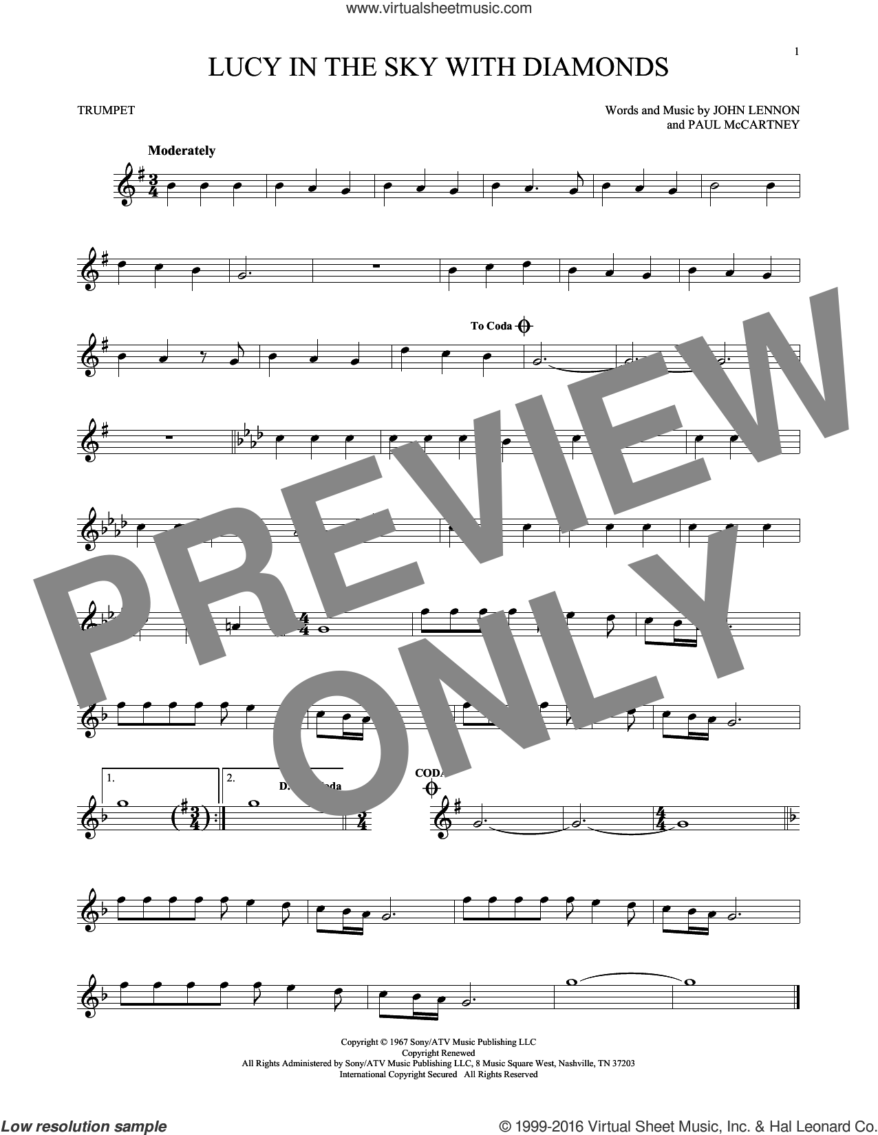 Lucy In The Sky With Diamonds sheet music for trumpet solo by The Beatles, Elton John, John Lennon and Paul McCartney, intermediate skill level