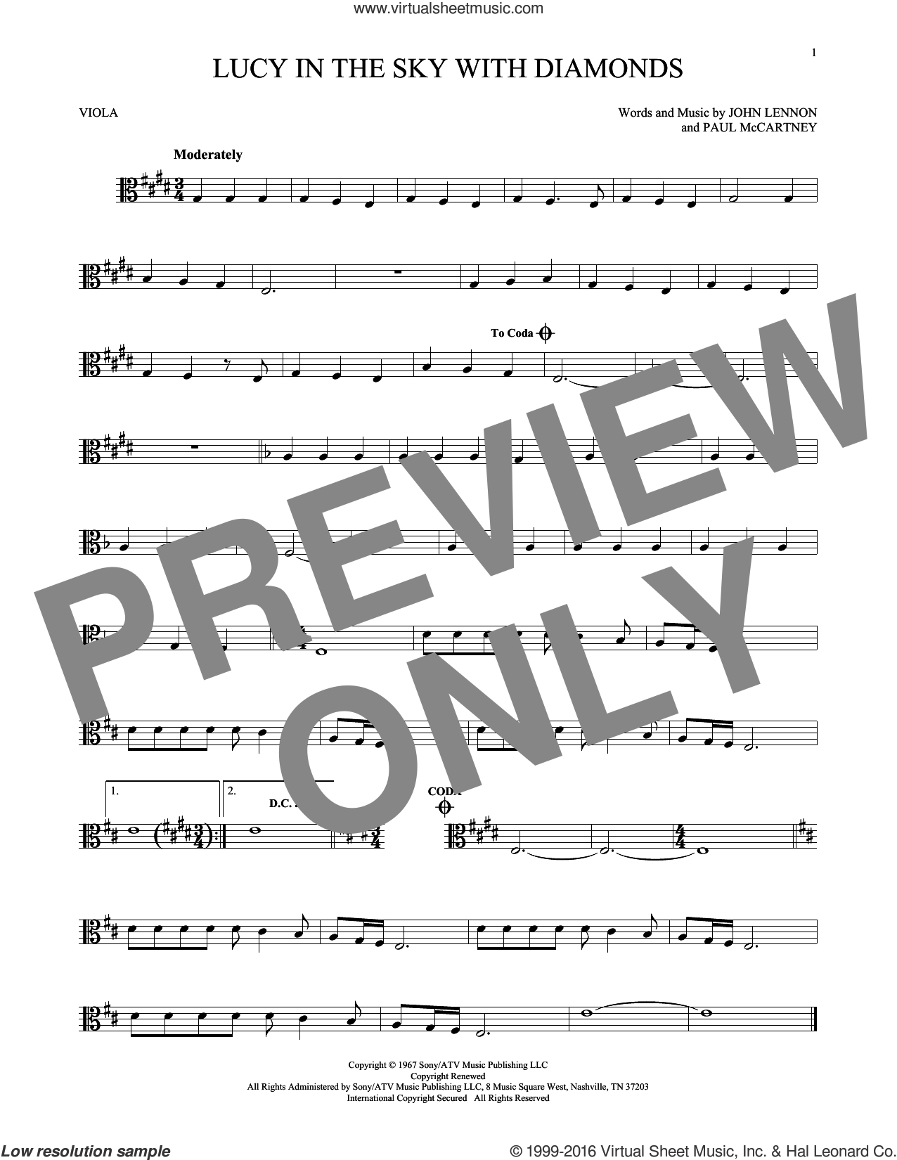 Lucy In The Sky With Diamonds sheet music for viola solo by The Beatles, Elton John, John Lennon and Paul McCartney, intermediate skill level