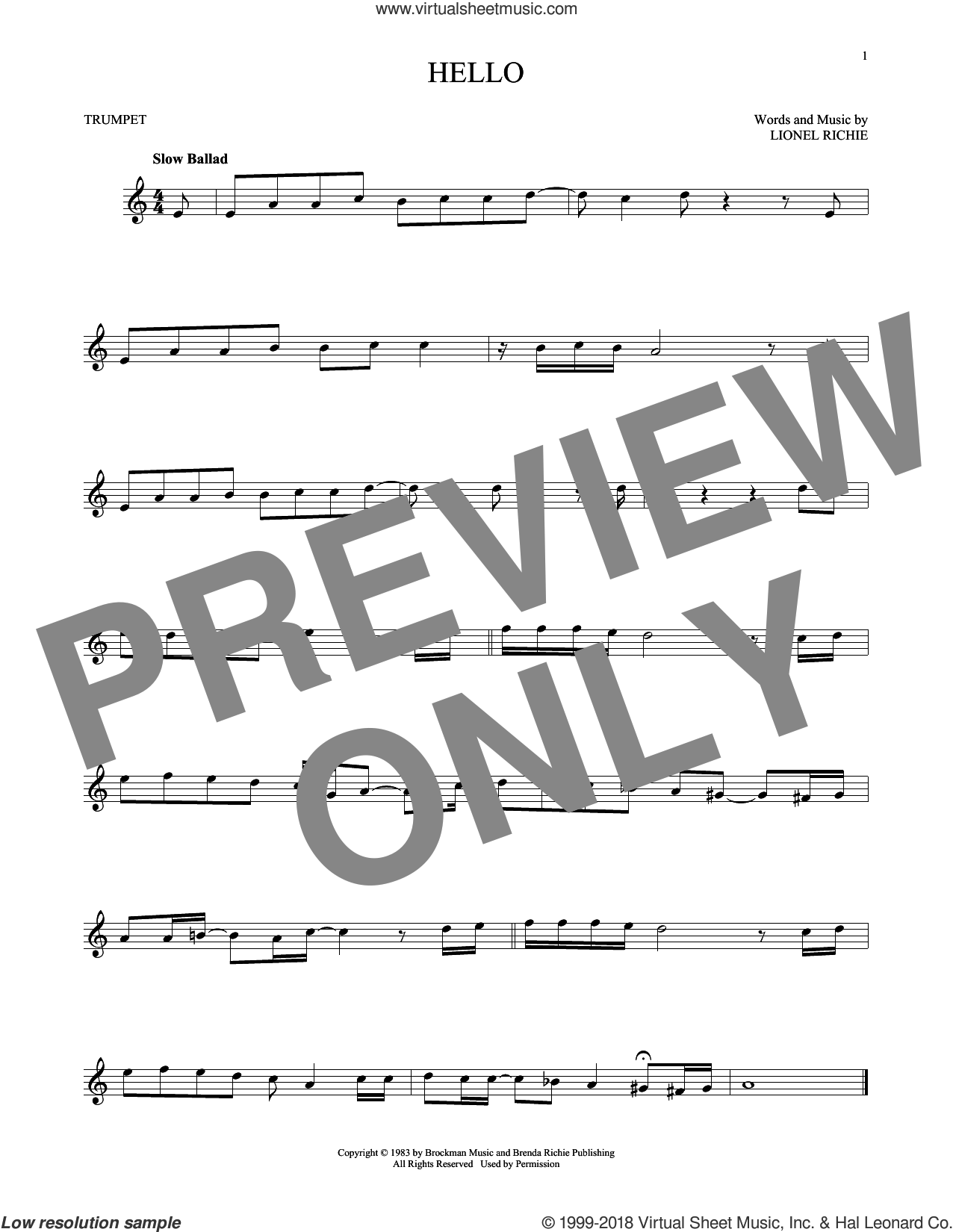 Hello sheet music for trumpet solo by Lionel Richie and David Cook, intermediate skill level
