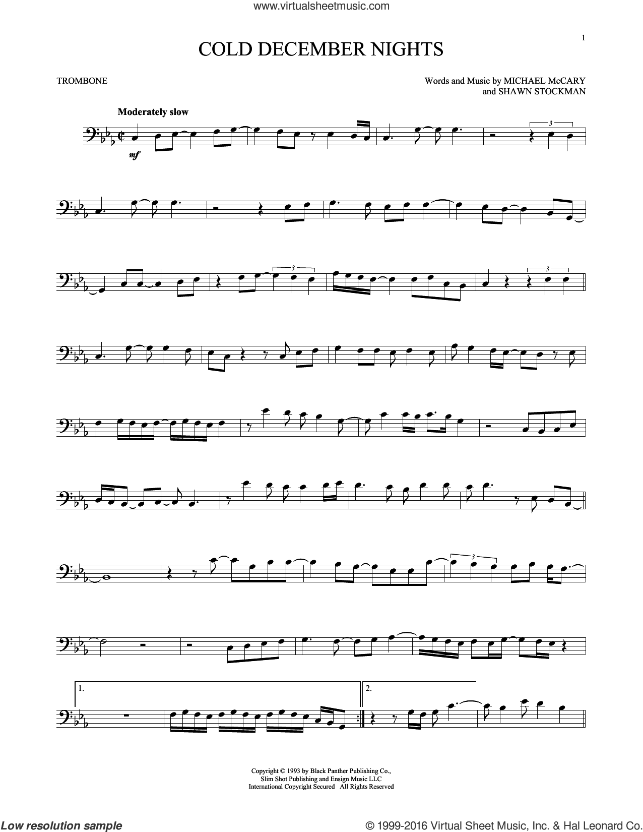 Cold December Nights sheet music for trombone solo by Boyz II Men and Michael Buble. Score Image Preview.