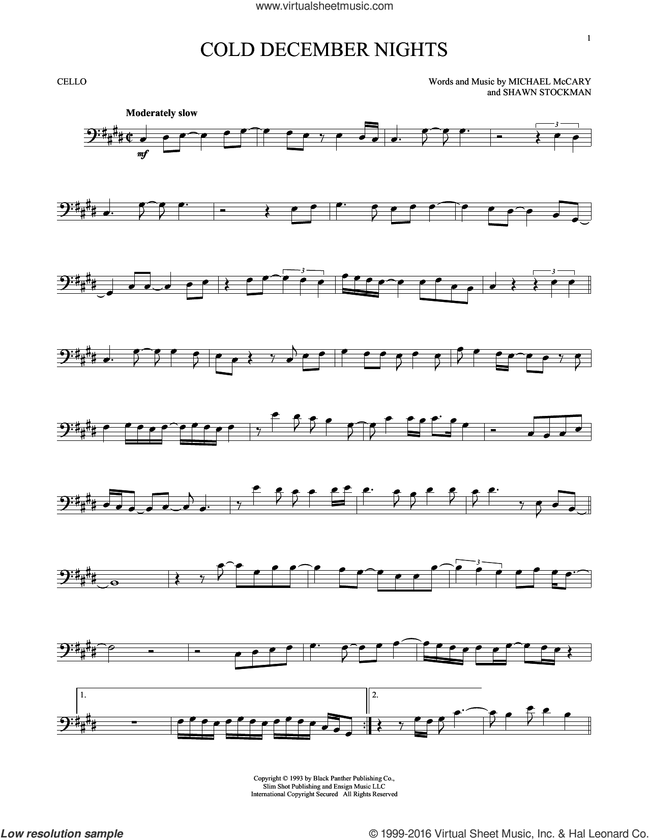 Cold December Nights sheet music for cello solo by Boyz II Men, Michael Buble, Michael McCary and Shawn Stockman, intermediate skill level