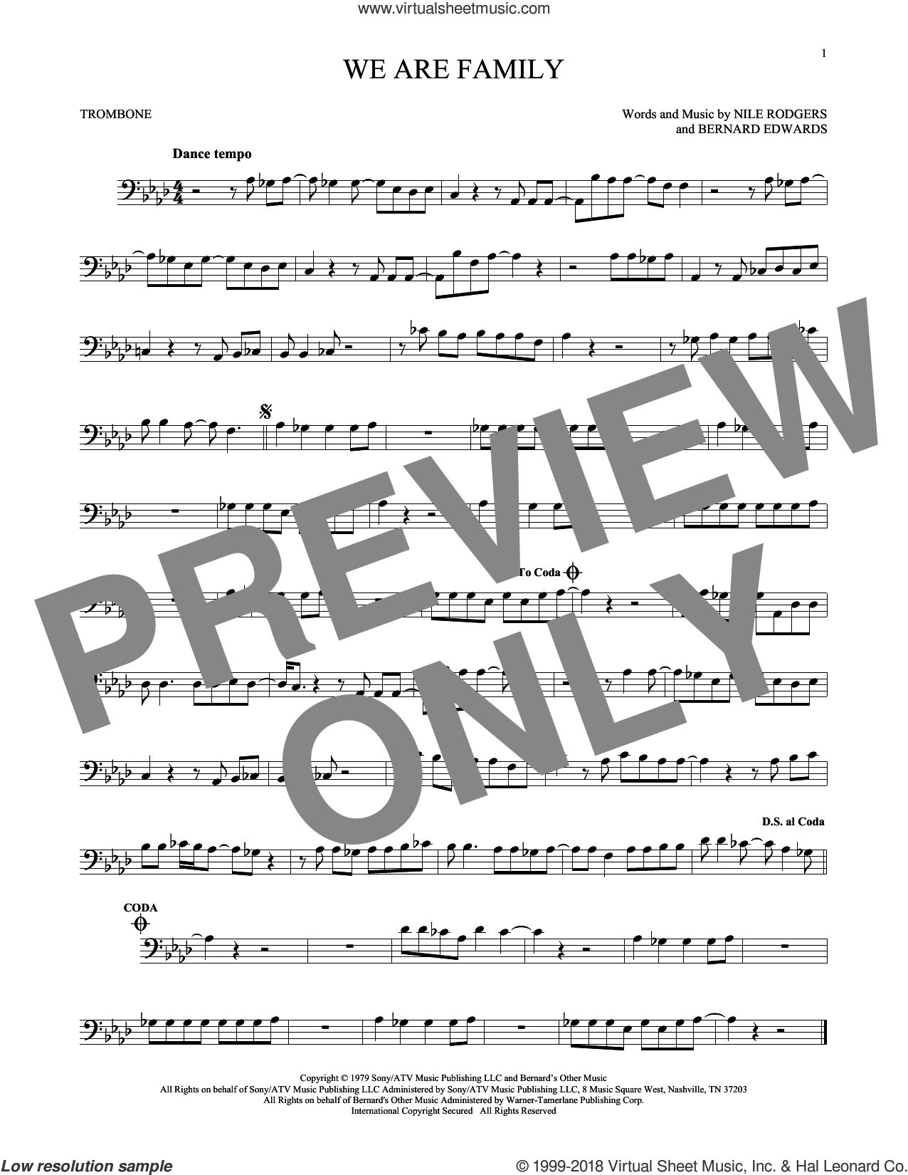 We Are Family sheet music for trombone solo by Nile Rodgers, Sister Sledge and Bernard Edwards. Score Image Preview.