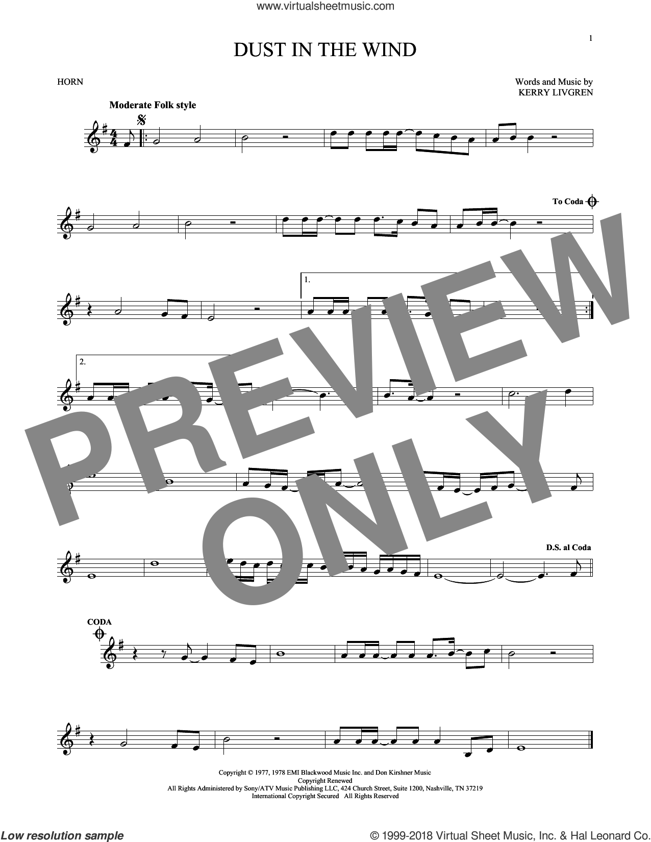 Dust In The Wind sheet music for horn solo by Kansas and Kerry Livgren, intermediate skill level