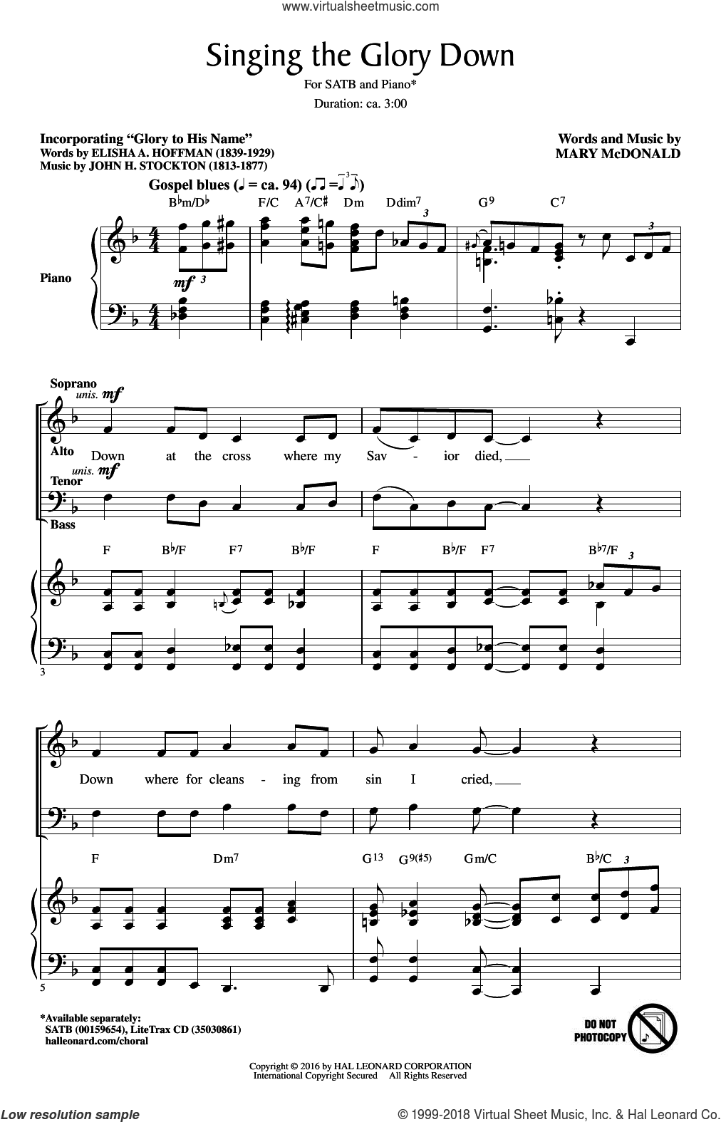 Singing The Glory Down sheet music for choir (SATB: soprano, alto, tenor, bass) by Mary McDonald, intermediate