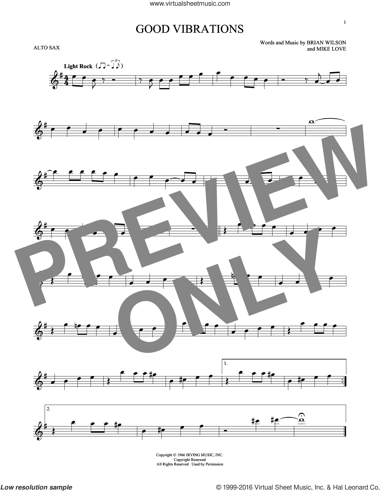 Good Vibrations sheet music for alto saxophone solo by Mike Love, The Beach Boys and Brian Wilson. Score Image Preview.