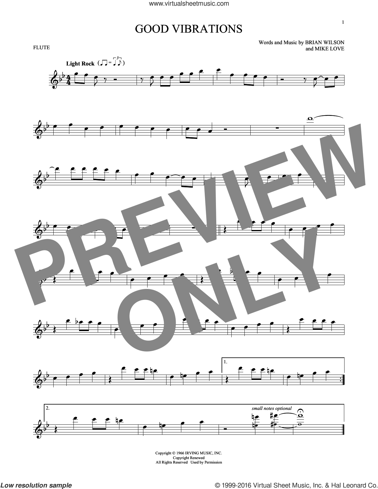 Good Vibrations sheet music for flute solo by The Beach Boys, Brian Wilson and Mike Love, intermediate skill level
