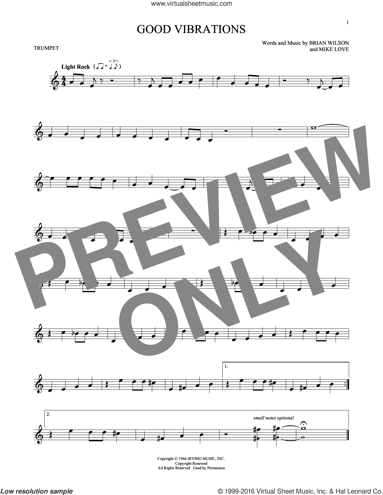 Good Vibrations sheet music for trumpet solo by The Beach Boys, Brian Wilson and Mike Love, intermediate skill level