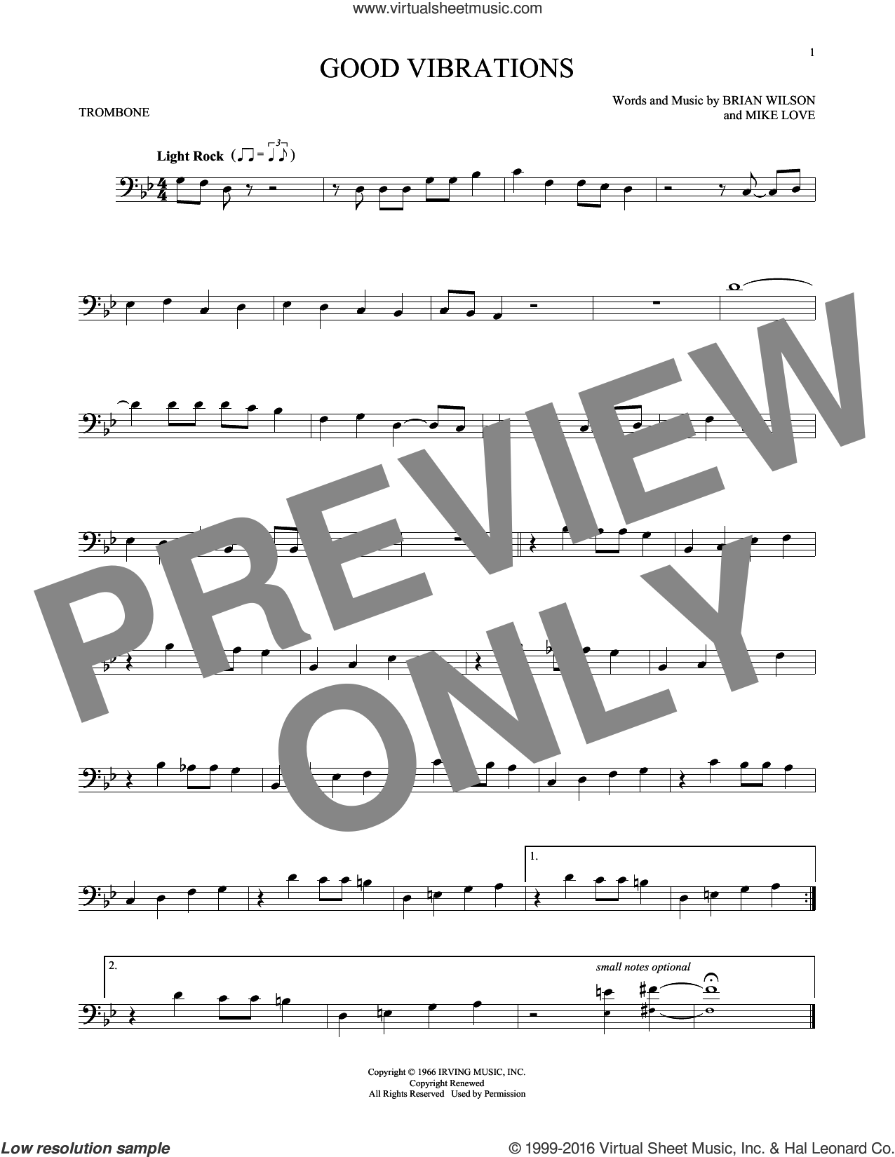 Good Vibrations sheet music for trombone solo by The Beach Boys, Brian Wilson and Mike Love, intermediate skill level