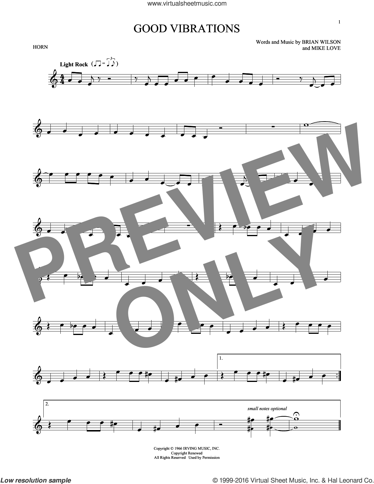 Good Vibrations sheet music for horn solo by Mike Love, The Beach Boys and Brian Wilson. Score Image Preview.