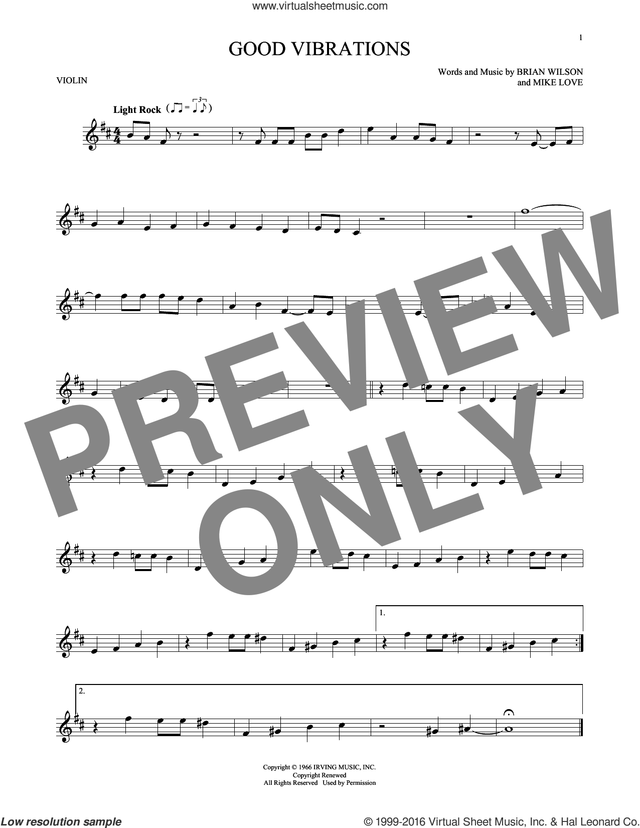 Good Vibrations sheet music for violin solo by Mike Love, The Beach Boys and Brian Wilson. Score Image Preview.