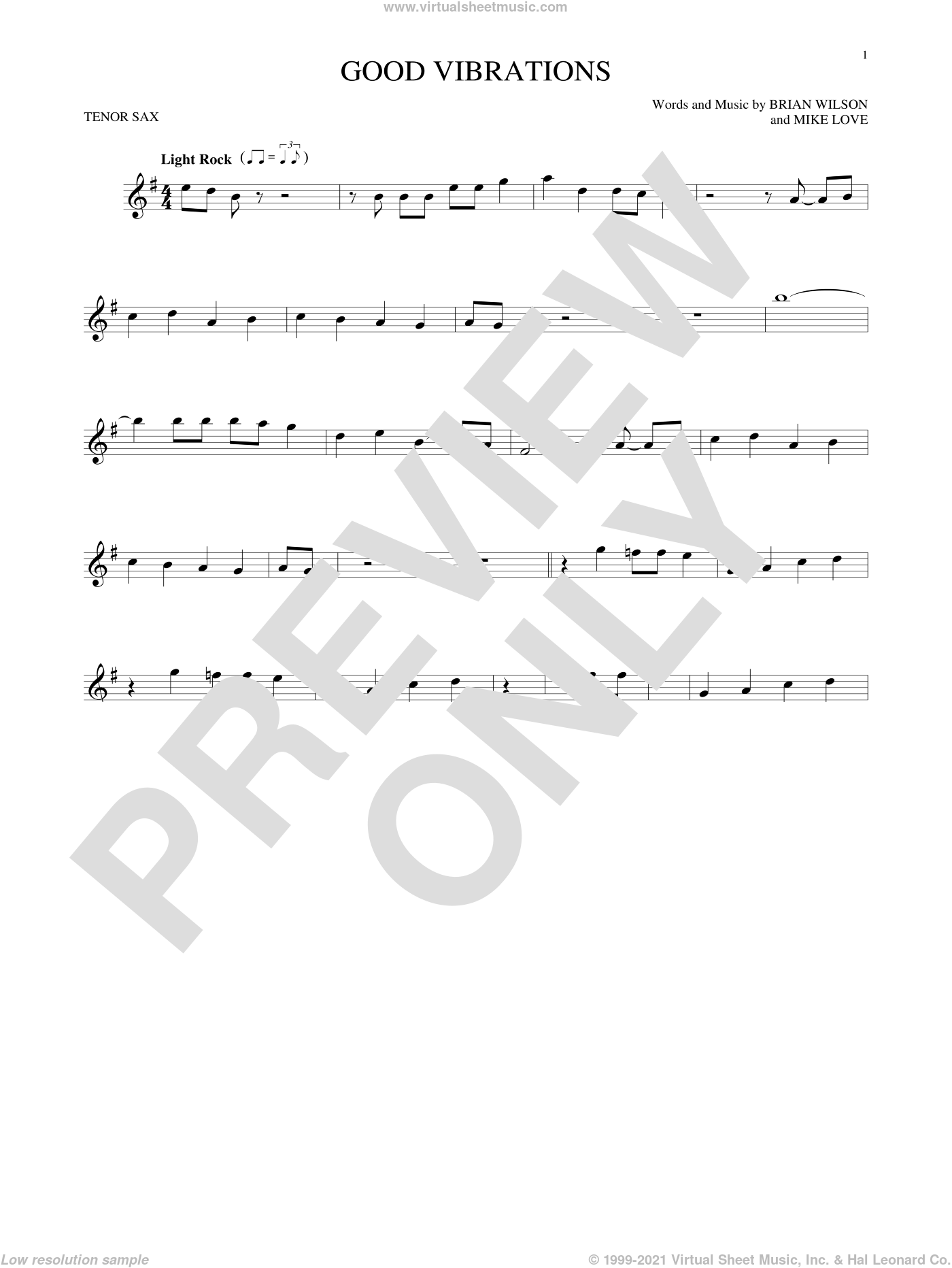 Good Vibrations sheet music for tenor saxophone solo by The Beach Boys and Brian Wilson. Score Image Preview.