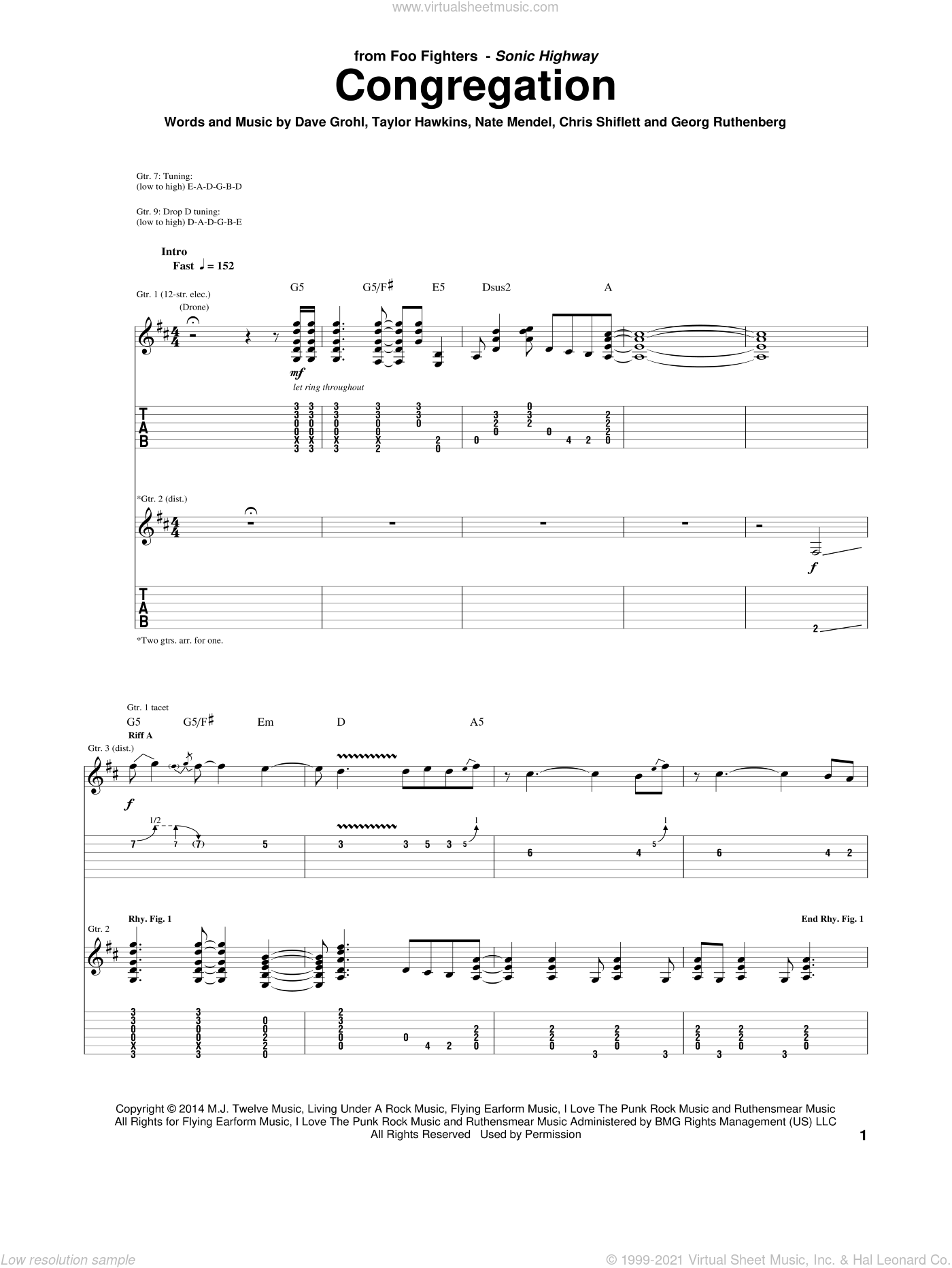 Congregation sheet music for guitar (tablature) by Foo Fighters. Score Image Preview.