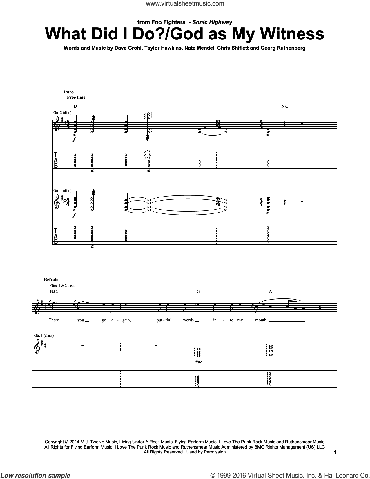 What Did I Do?/God As My Witness sheet music for guitar (tablature) by Foo Fighters, Chris Shiflett, Dave Grohl, Georg Ruthenberg, Nate Mendel and Taylor Hawkins, intermediate. Score Image Preview.