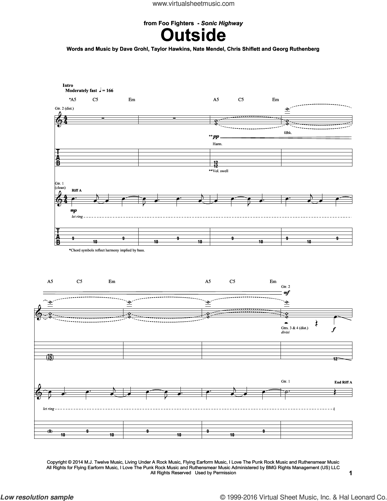 Outside sheet music for guitar (tablature) by Taylor Hawkins, Foo Fighters, Chris Shiflett, Dave Grohl and Nate Mendel. Score Image Preview.