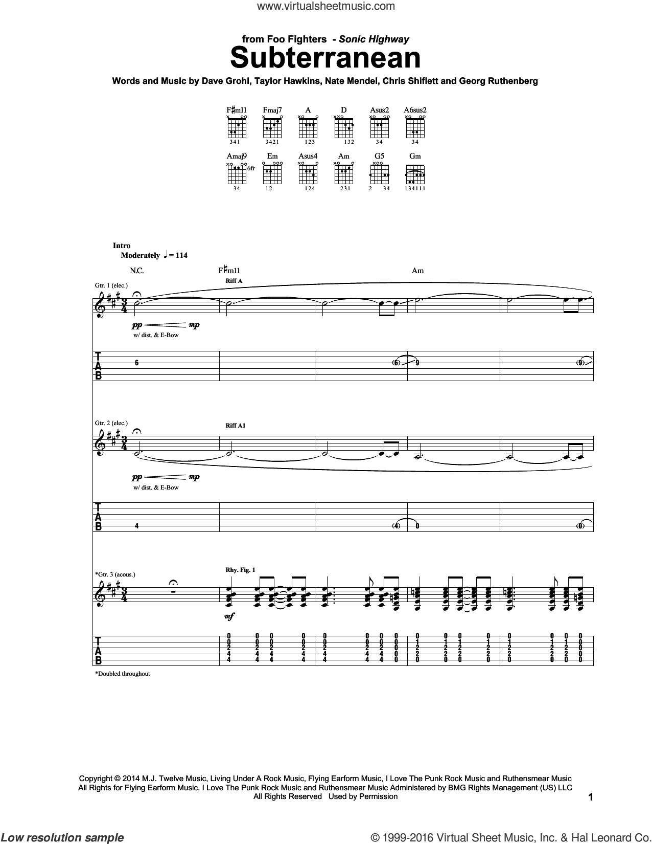 Subterranean sheet music for guitar (tablature) by Taylor Hawkins, Foo Fighters, Chris Shiflett, Dave Grohl and Nate Mendel. Score Image Preview.