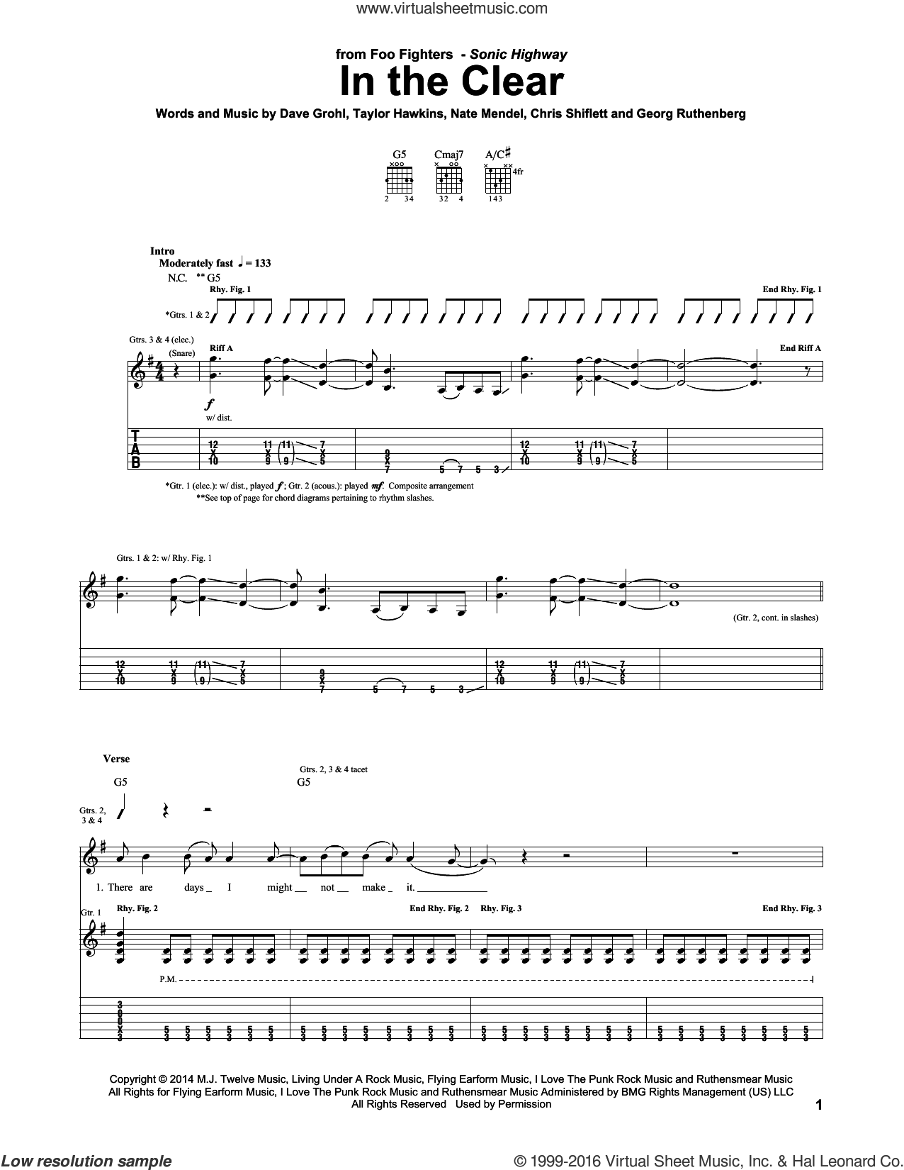 In The Clear sheet music for guitar (tablature) by Foo Fighters. Score Image Preview.