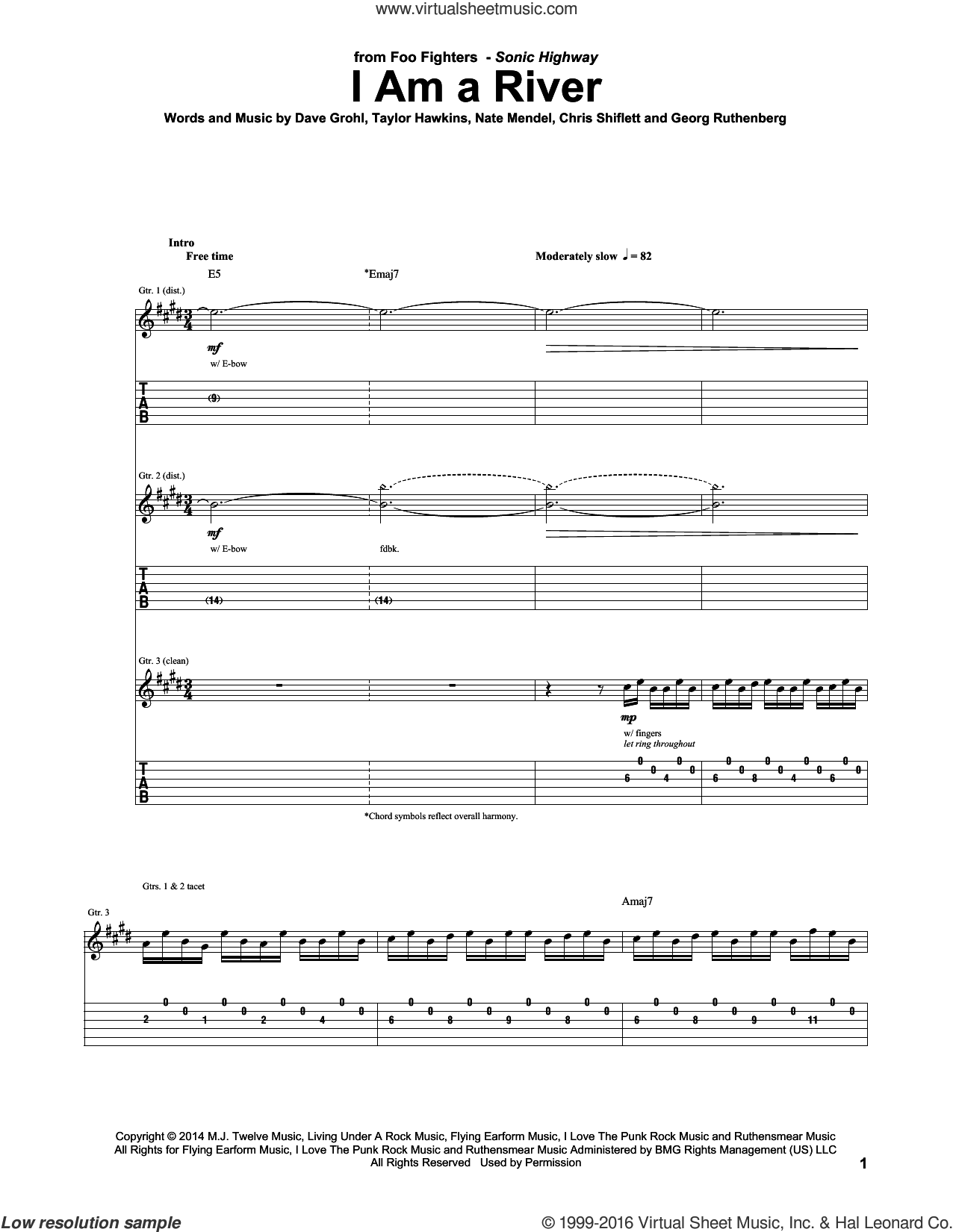 I Am A River sheet music for guitar (tablature) by Taylor Hawkins, Foo Fighters, Chris Shiflett, Dave Grohl and Nate Mendel. Score Image Preview.