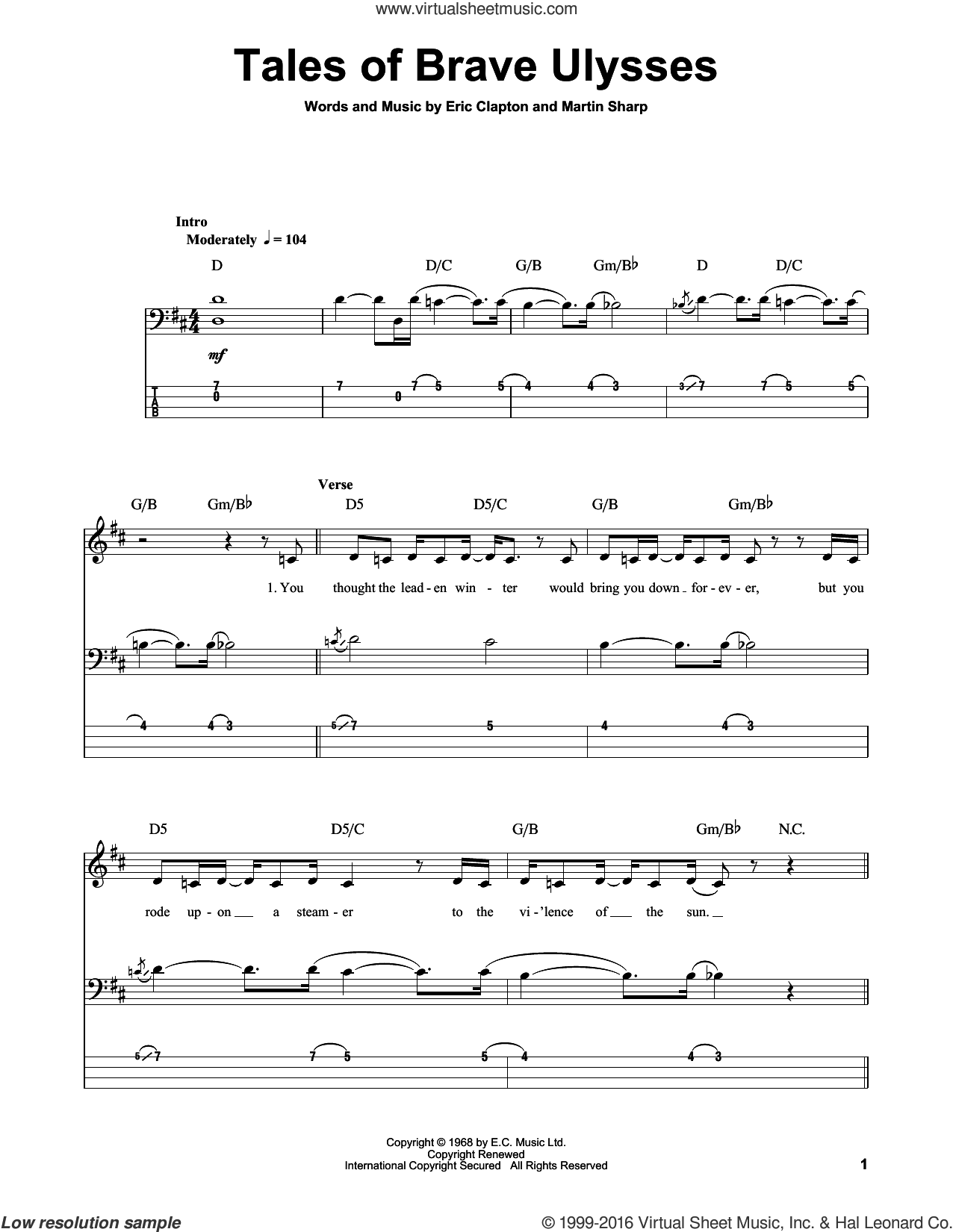 Tales Of Brave Ulysses sheet music for bass (tablature) (bass guitar) by Martin Sharp and Eric Clapton. Score Image Preview.