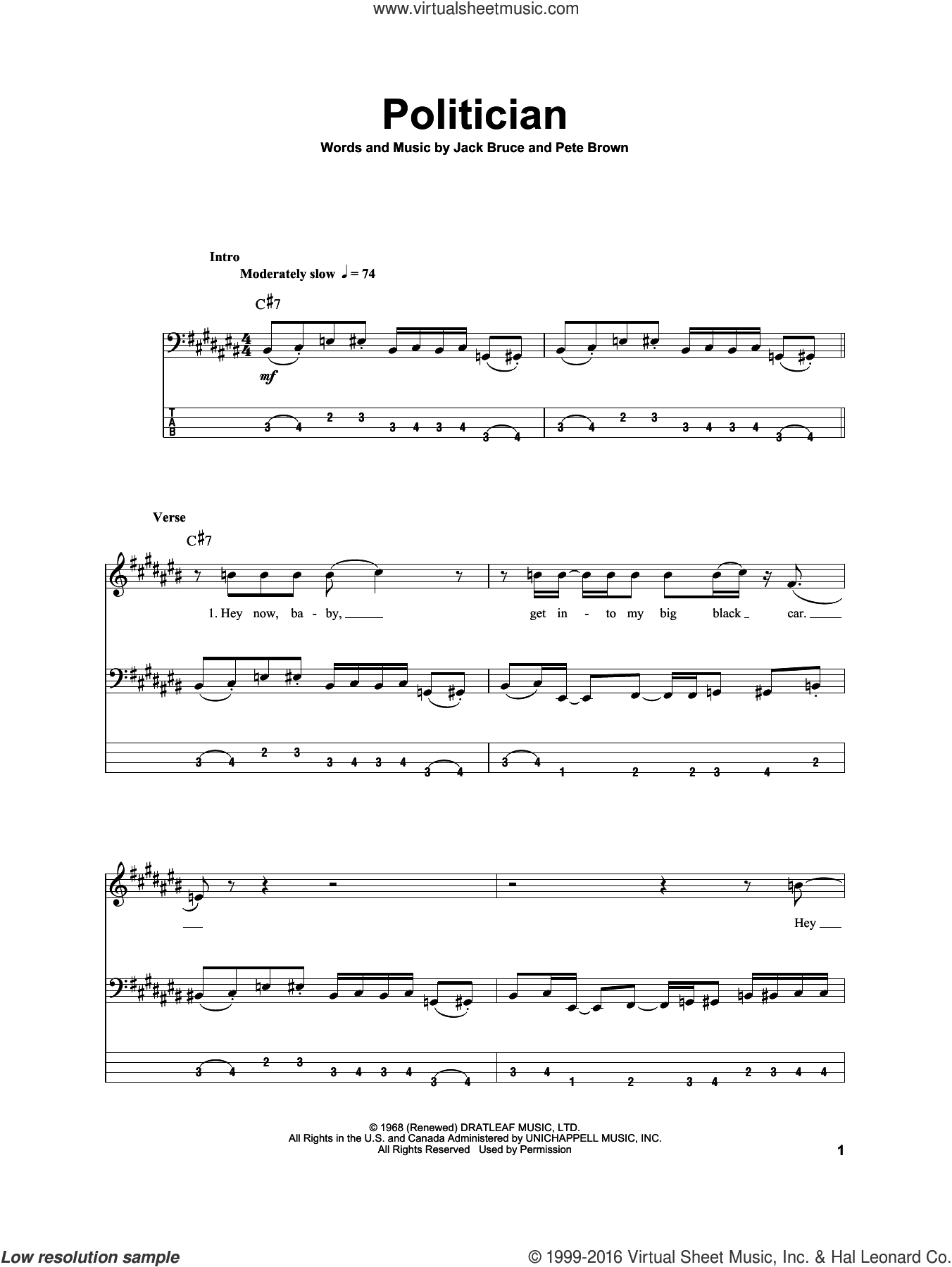 Politician sheet music for bass (tablature) (bass guitar) by Cream, Jack Bruce and Pete Brown, intermediate skill level