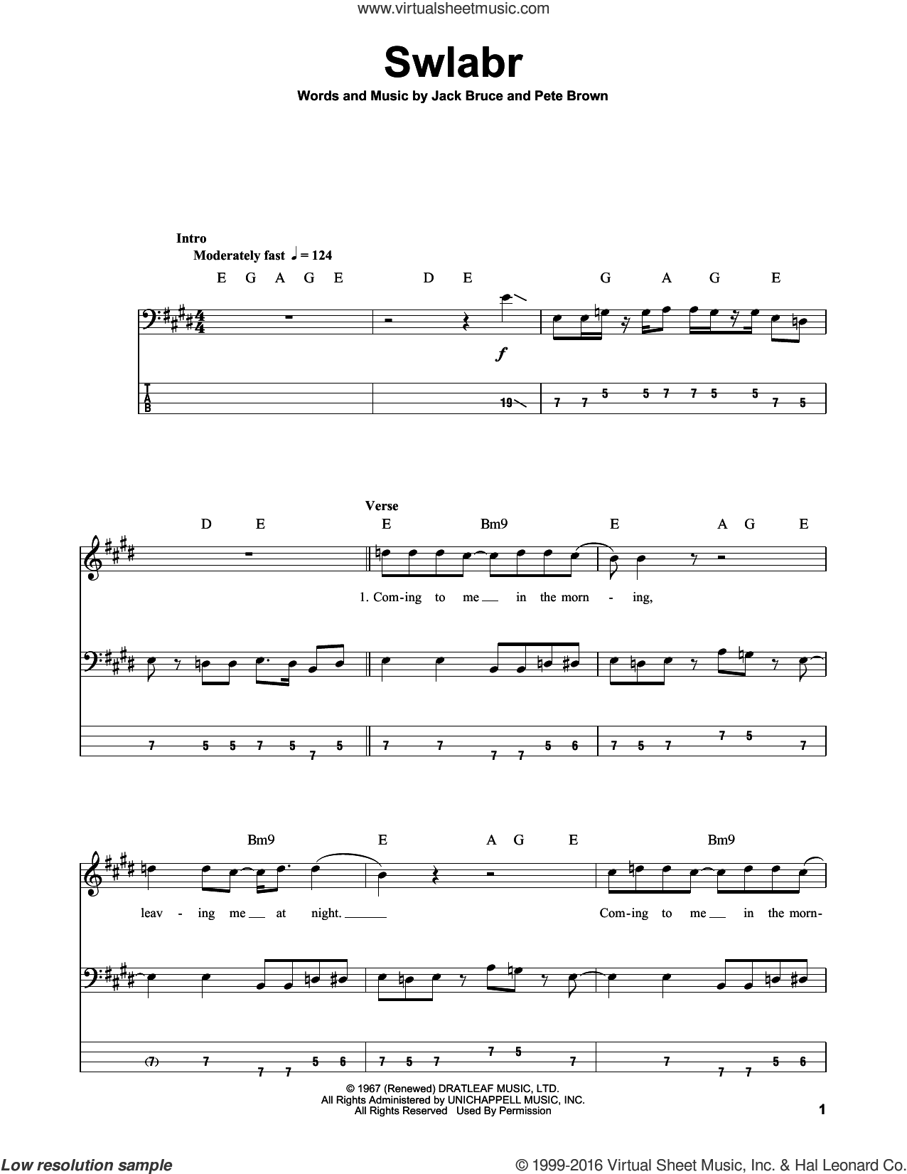 Swlabr sheet music for bass (tablature) (bass guitar) by Cream, Jack Bruce and Pete Brown, intermediate skill level
