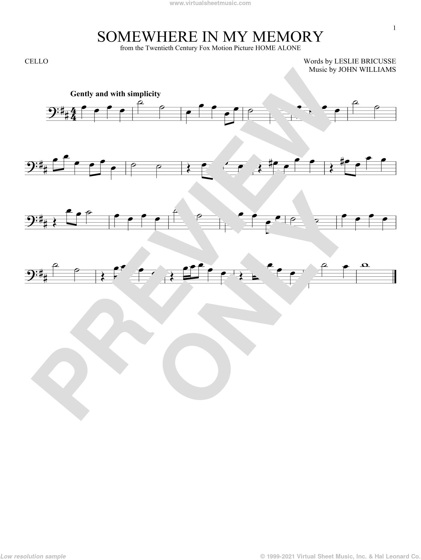 Somewhere In My Memory sheet music for cello solo by Leslie Bricusse and John Williams. Score Image Preview.