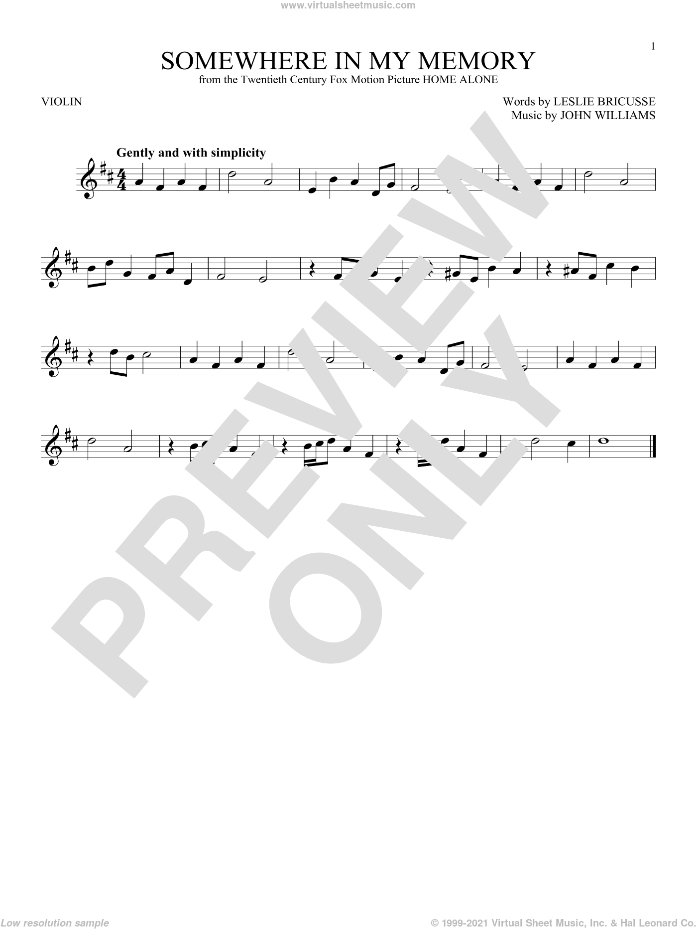 Somewhere In My Memory sheet music for violin solo by John Williams and Leslie Bricusse, intermediate skill level