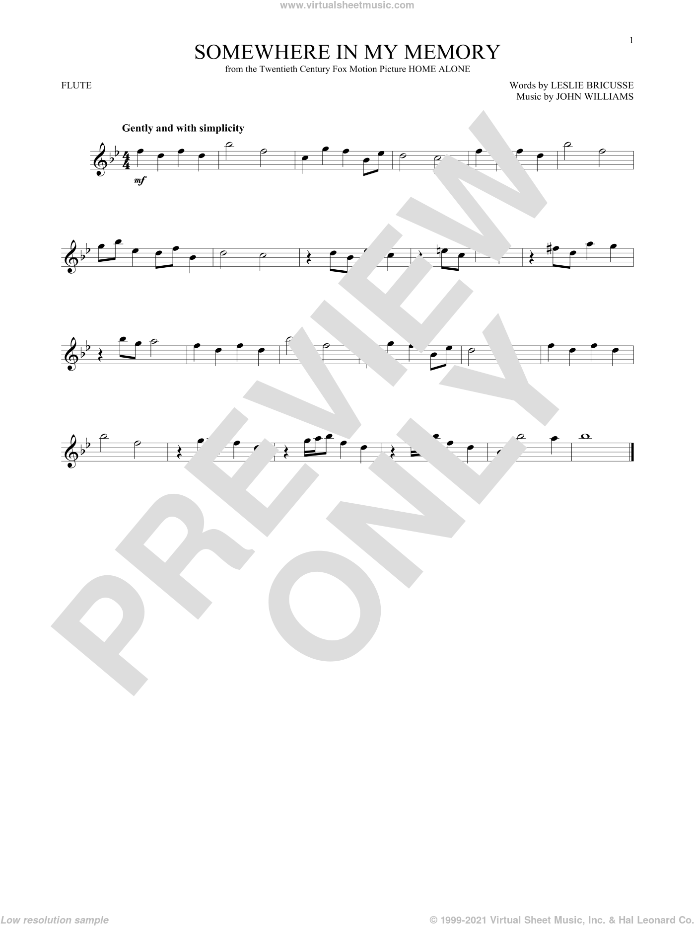 Somewhere In My Memory sheet music for flute solo by John Williams and Leslie Bricusse, intermediate skill level