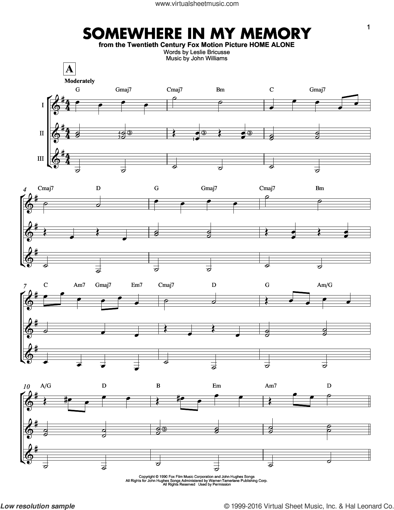 Somewhere In My Memory sheet music for guitar ensemble by John Williams and Leslie Bricusse, intermediate skill level