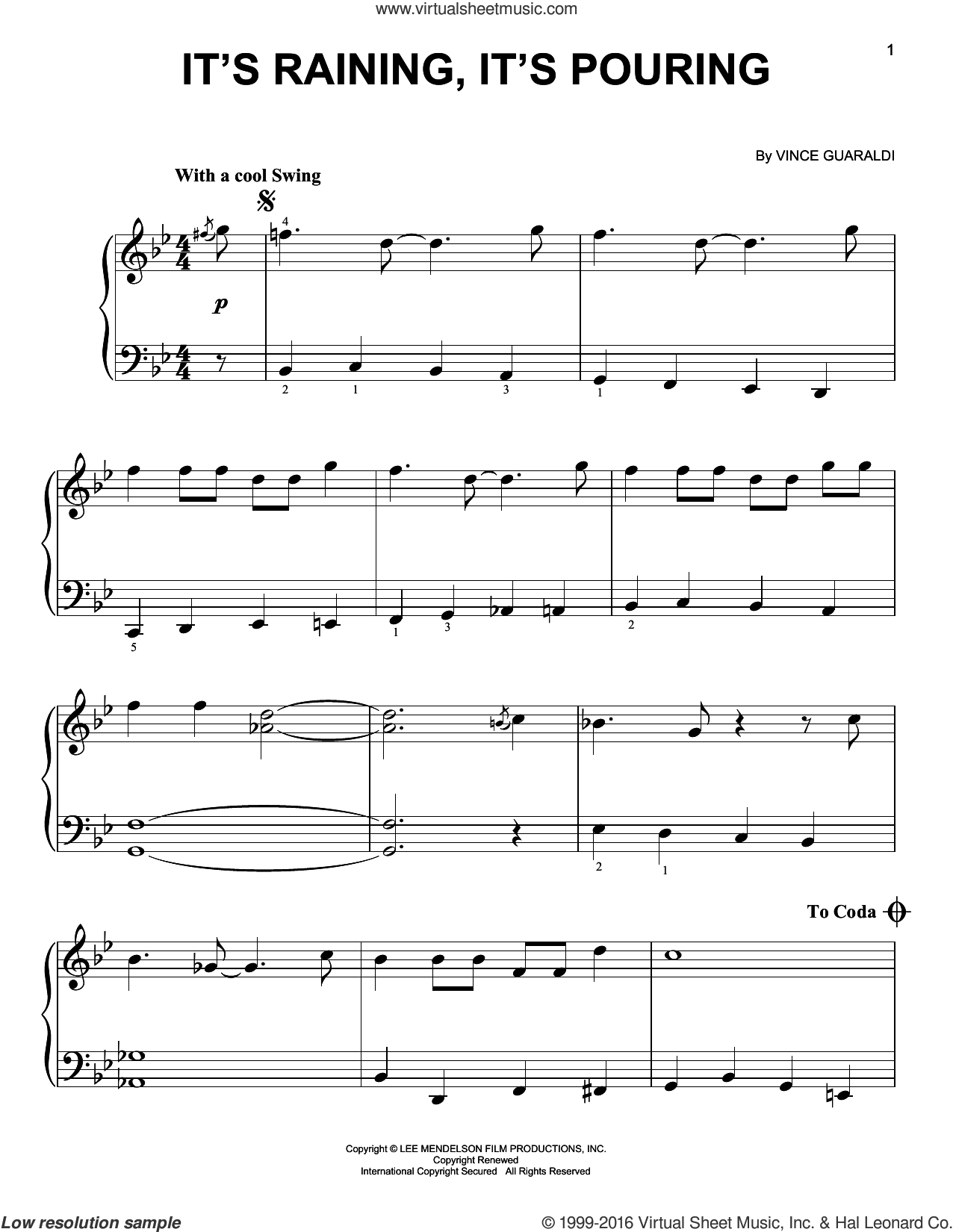 It's Raining, It's Pouring sheet music for piano solo by Vince Guaraldi. Score Image Preview.