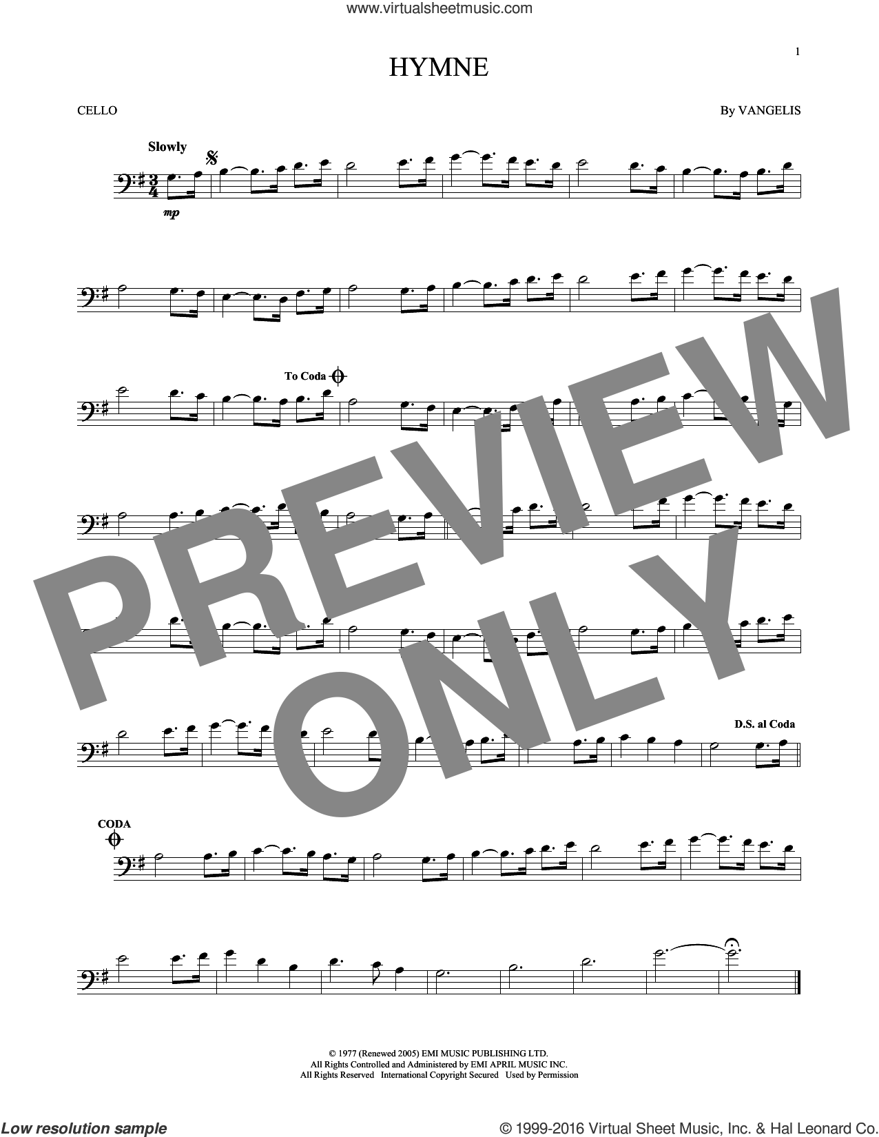 Hymne sheet music for cello solo by Vangelis. Score Image Preview.