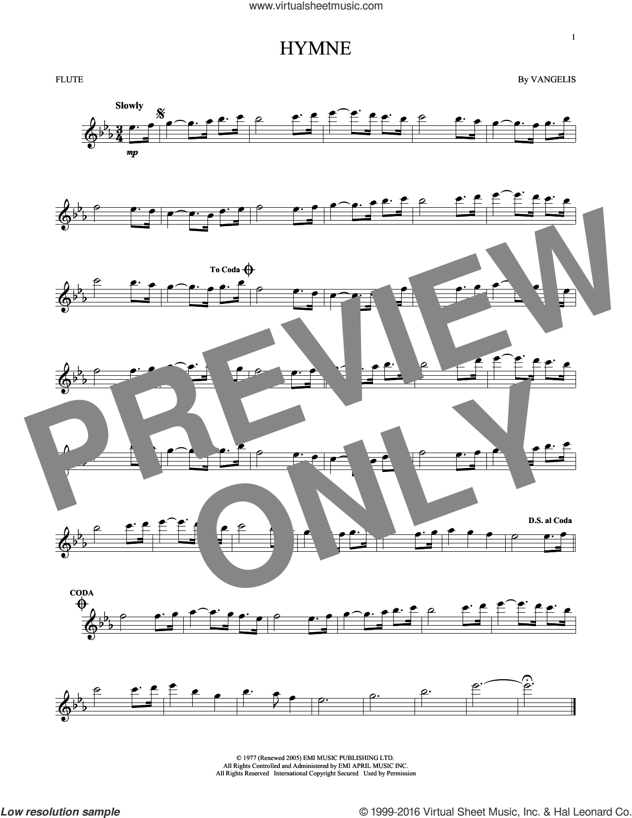 Hymne sheet music for flute solo by Vangelis, intermediate skill level