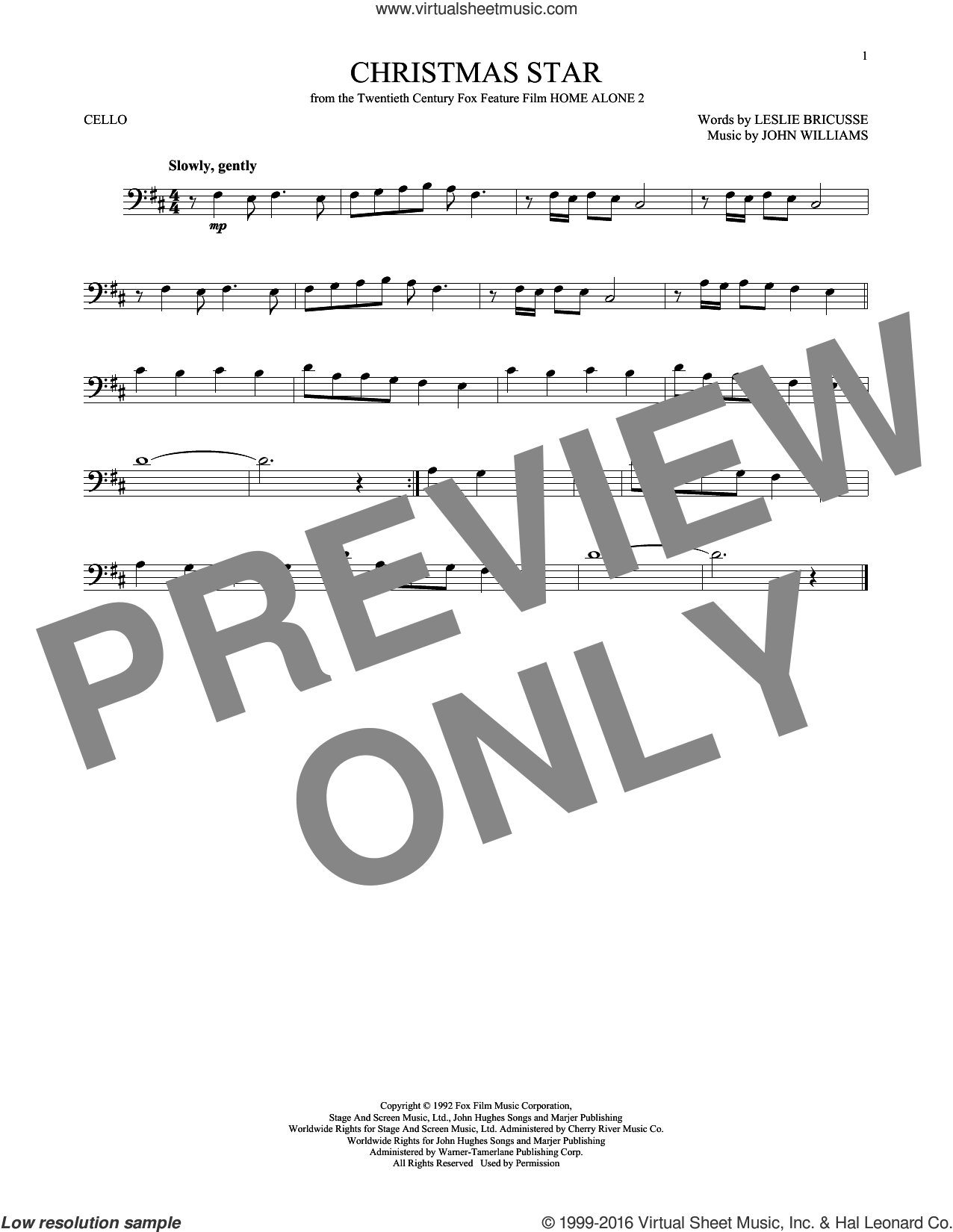 Christmas Star sheet music for cello solo by John Williams and Leslie Bricusse, intermediate skill level