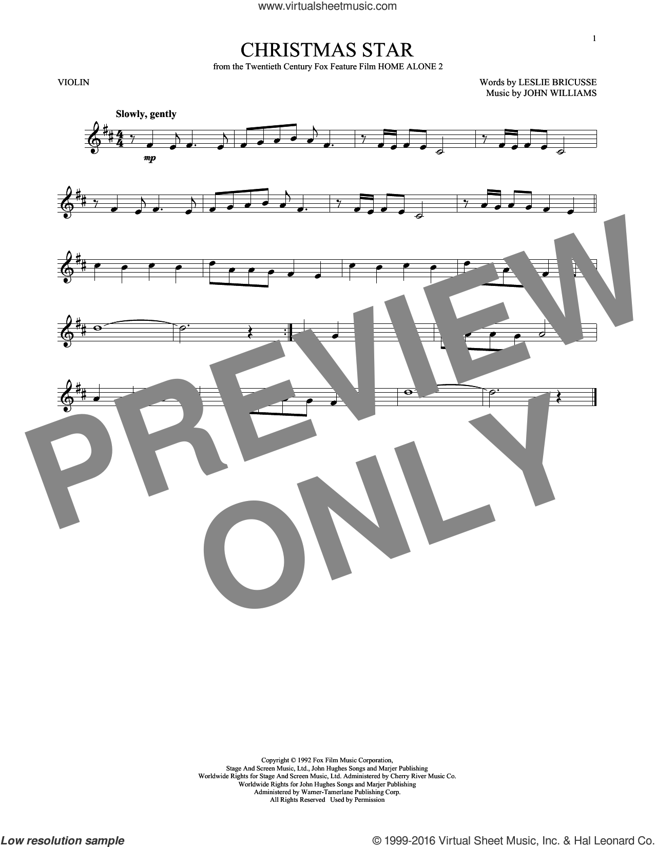 Christmas Star sheet music for violin solo by John Williams and Leslie Bricusse, Christmas carol score, intermediate violin. Score Image Preview.