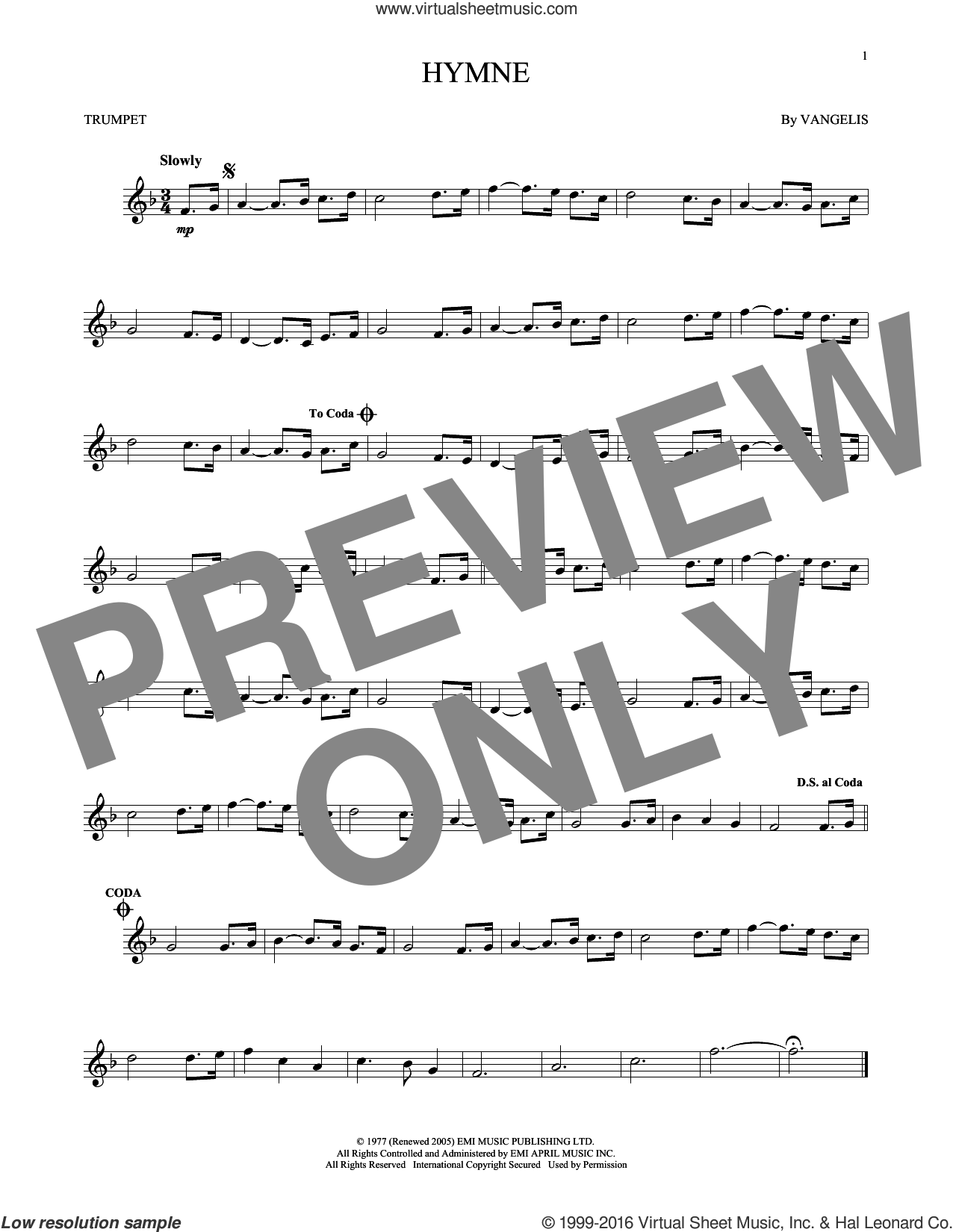 Hymne sheet music for trumpet solo by Vangelis, intermediate skill level