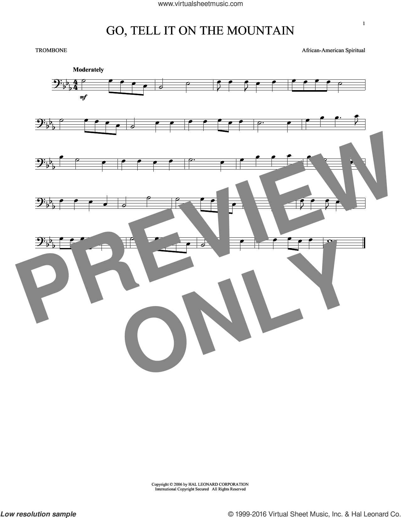 Go, Tell It On The Mountain sheet music for trombone solo by John W. Work, Jr. and Miscellaneous. Score Image Preview.