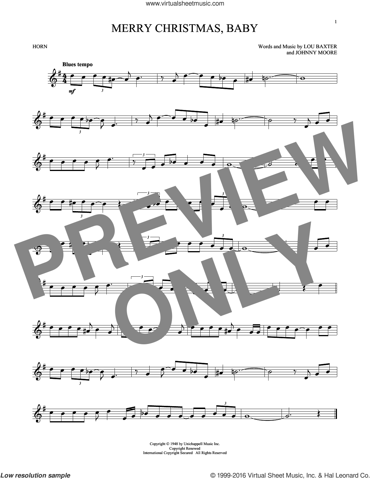 Merry Christmas, Baby sheet music for horn solo by Elvis Presley, Johnny Moore and Lou Baxter, intermediate. Score Image Preview.
