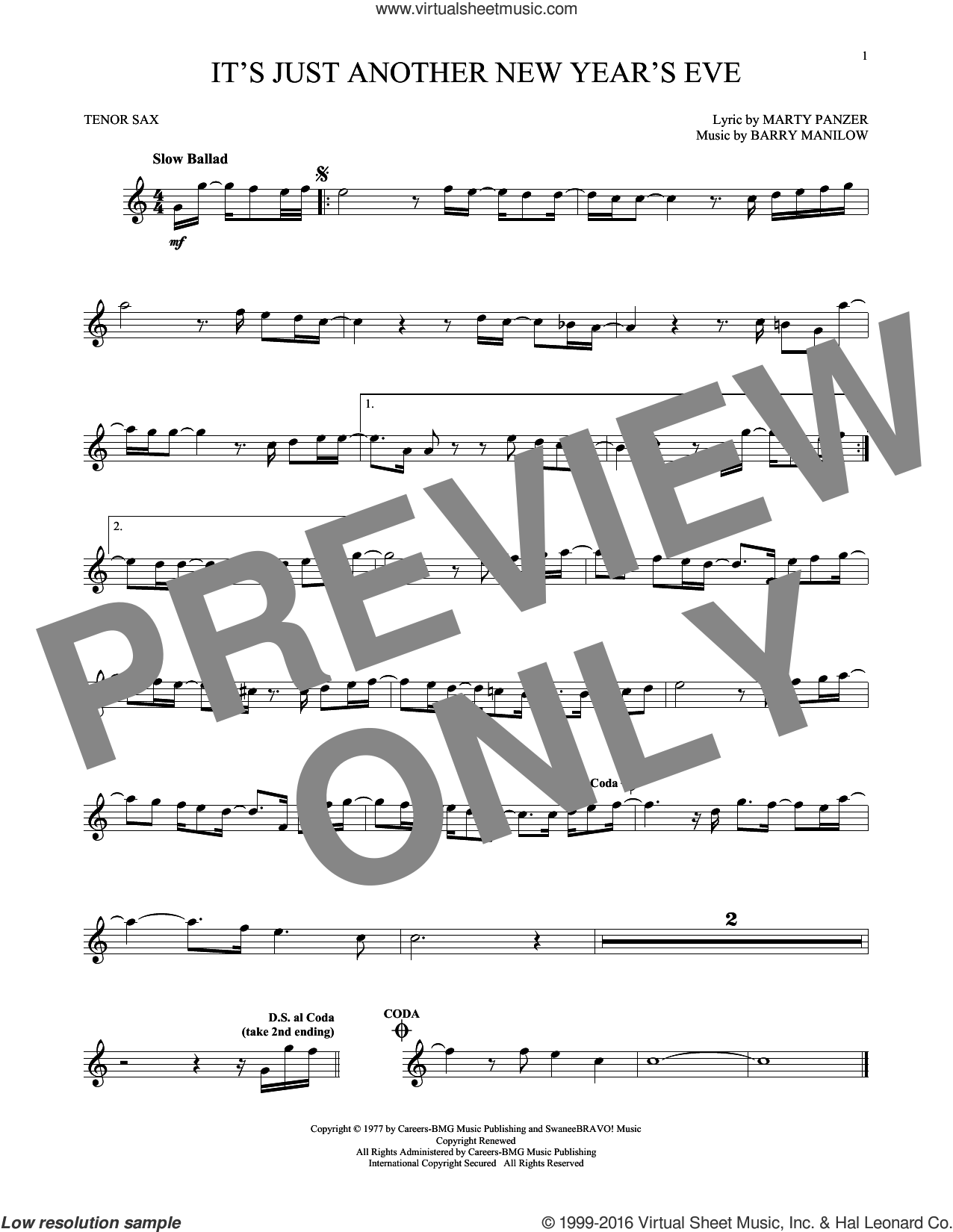 It's Just Another New Year's Eve sheet music for tenor saxophone solo by Barry Manilow and Marty Panzer, intermediate skill level