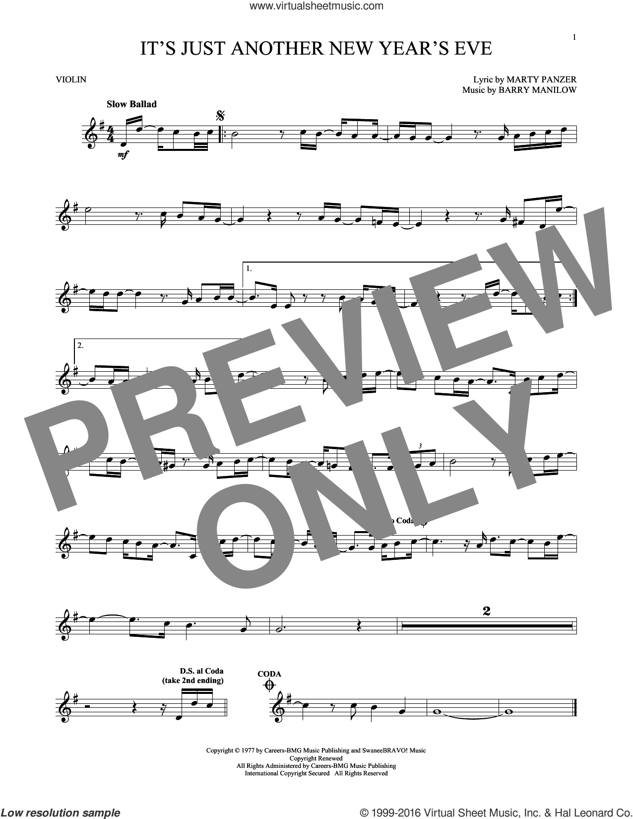 It's Just Another New Year's Eve sheet music for violin solo by Barry Manilow and Marty Panzer, intermediate skill level