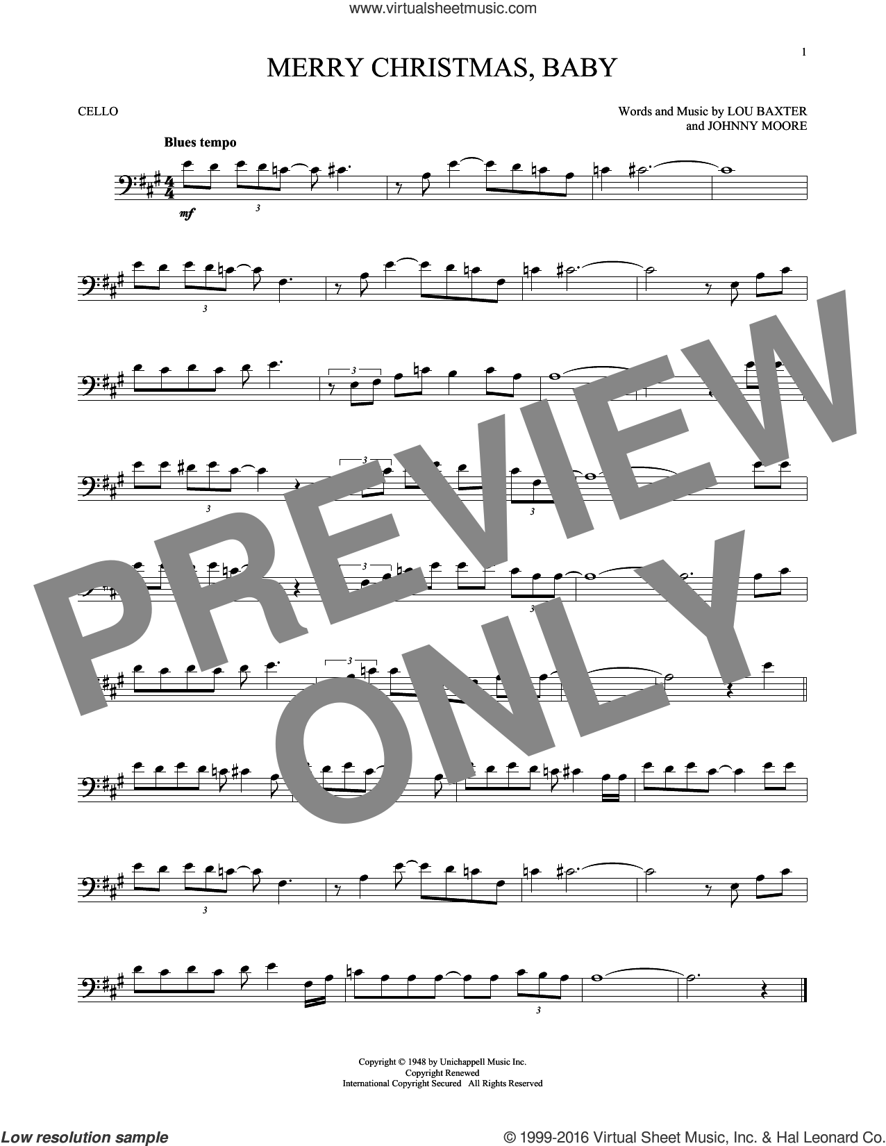 Merry Christmas, Baby sheet music for cello solo by Elvis Presley, Johnny Moore and Lou Baxter, intermediate skill level