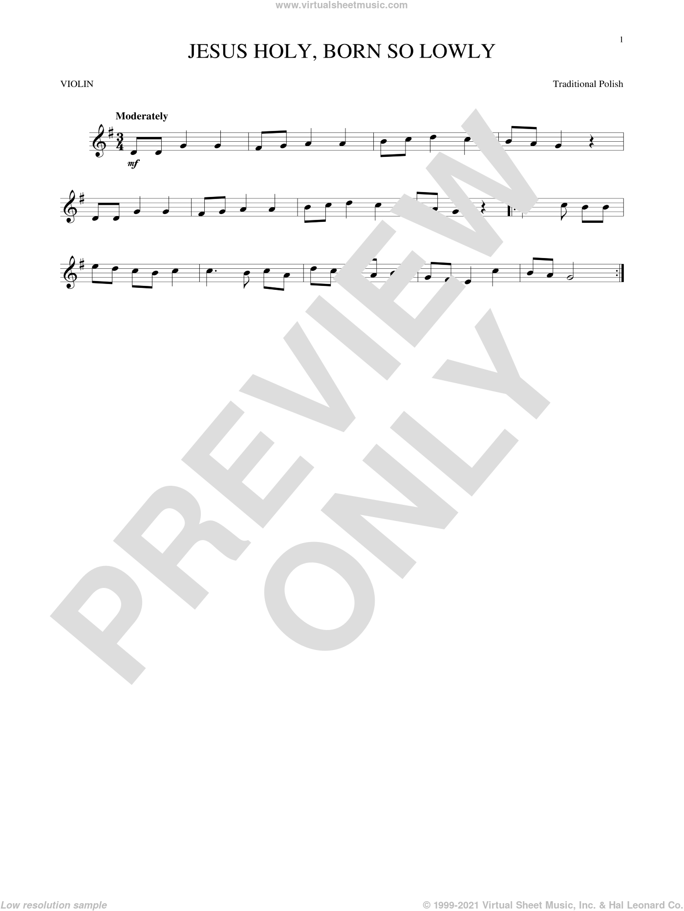 Jesus Holy, Born So Lowly sheet music for violin solo, Christmas carol score, intermediate violin. Score Image Preview.