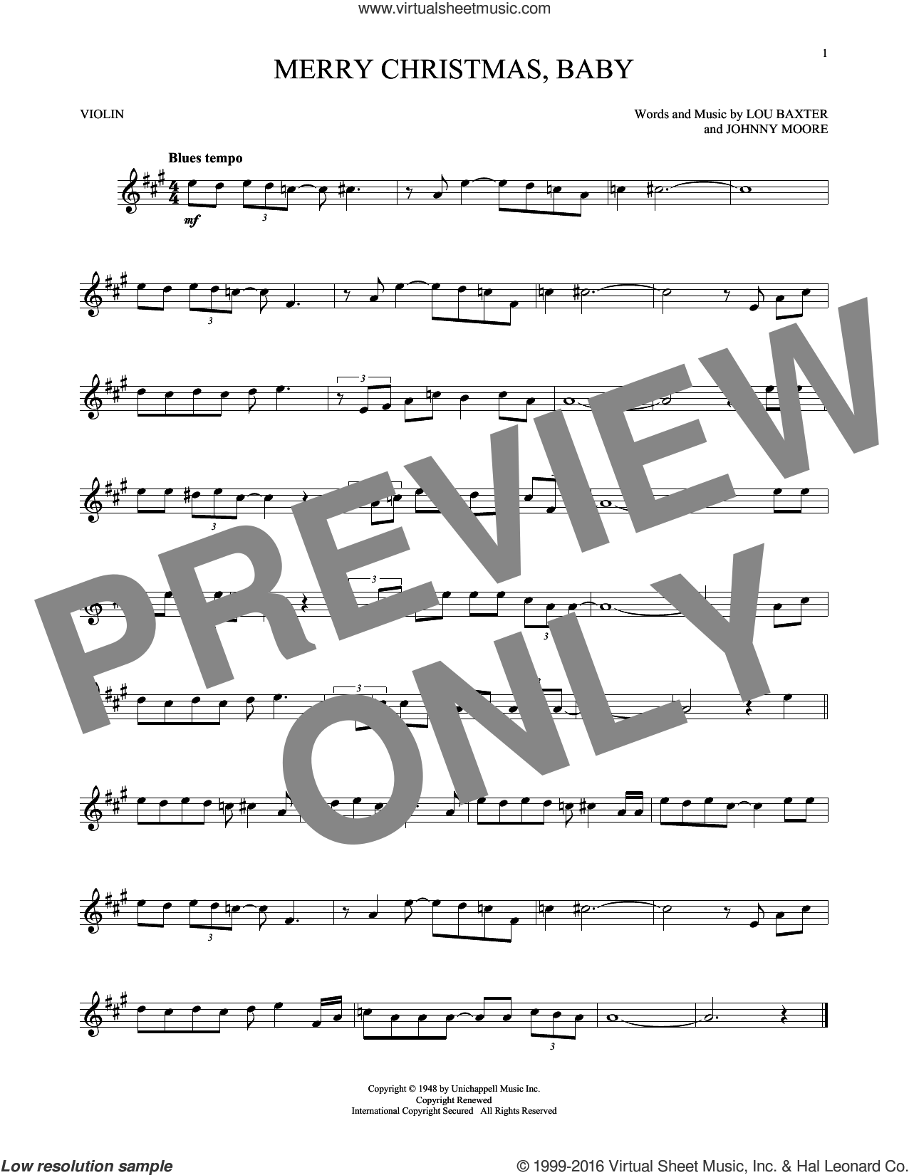 Merry Christmas, Baby sheet music for violin solo by Elvis Presley, Johnny Moore and Lou Baxter, intermediate skill level