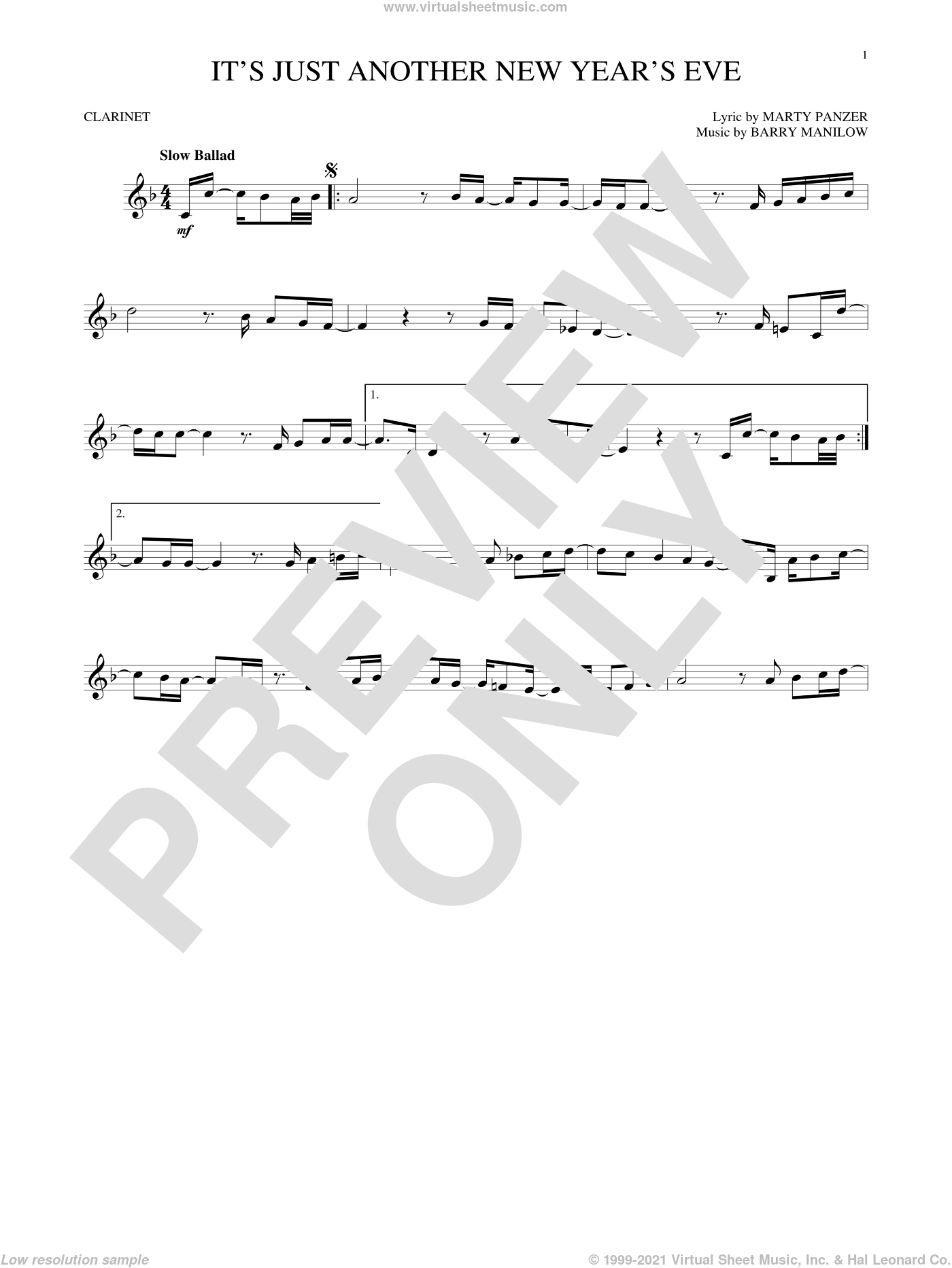 It's Just Another New Year's Eve sheet music for clarinet solo by Barry Manilow and Marty Panzer, intermediate